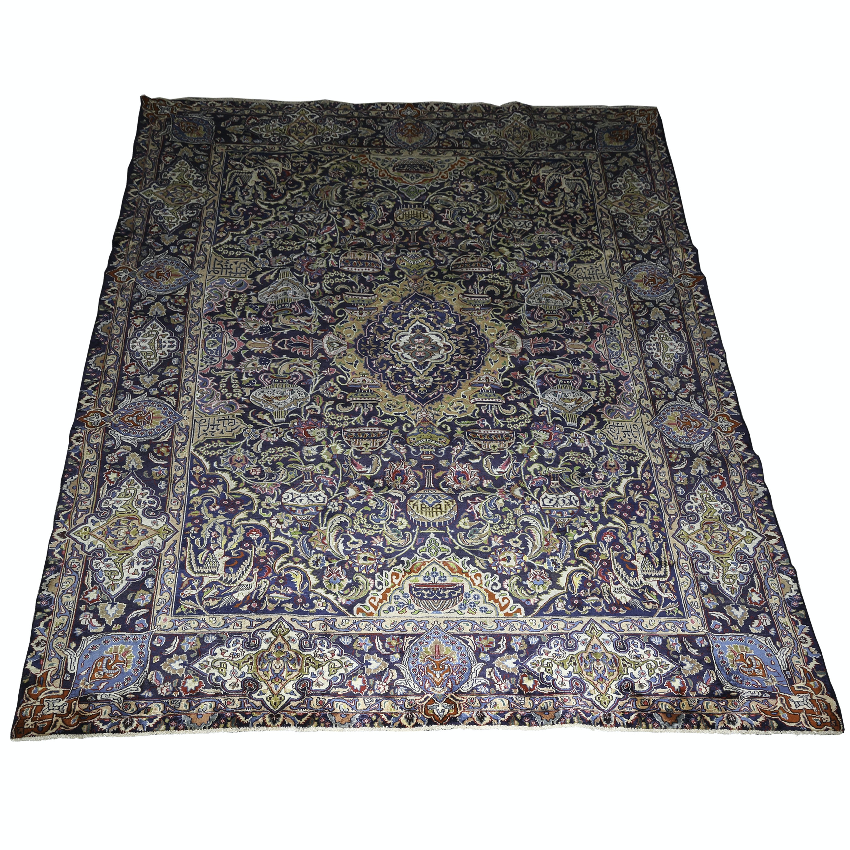 "Vintage Hand-Knotted Persian ""Archaeological"" Kashmar Wool Area Rug"