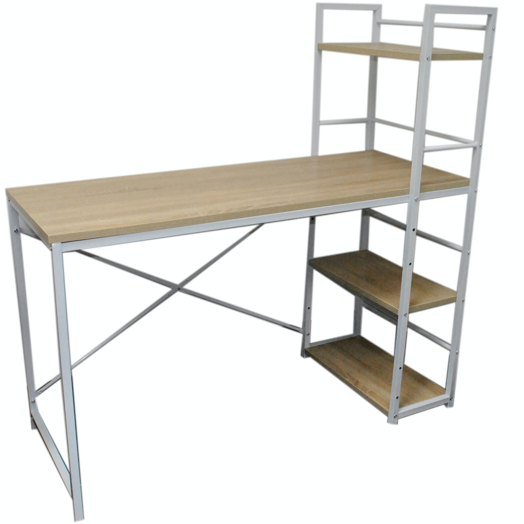 White Metal Office Desk with Composite Wood and Shelving