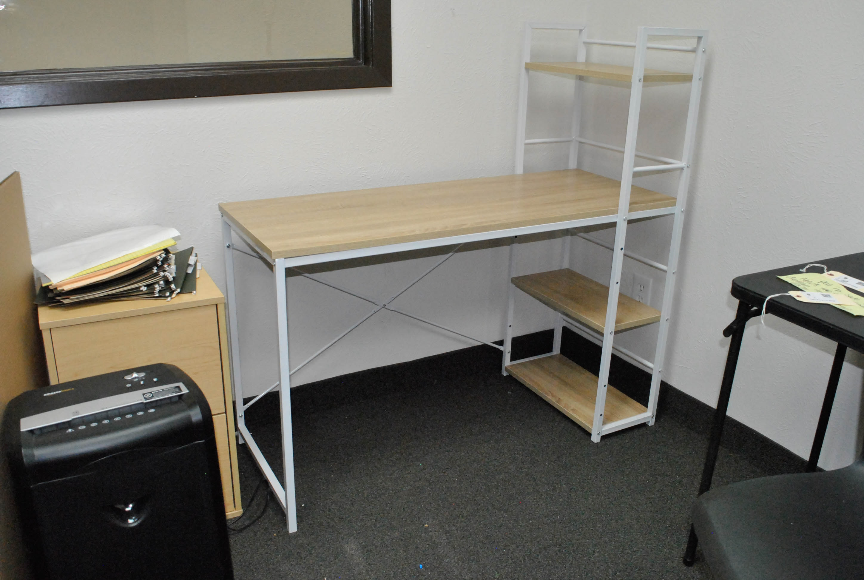 White Metal and Composite Wood Desk with Attached Shelving