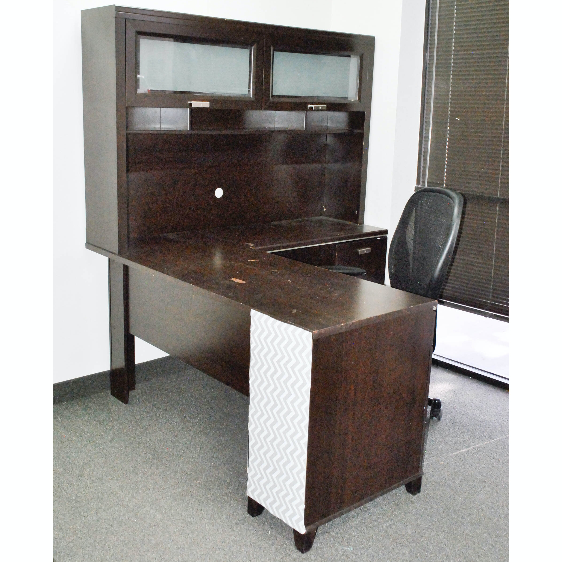 Dark Stain Desk, Credenza and Shelving with Office Chair