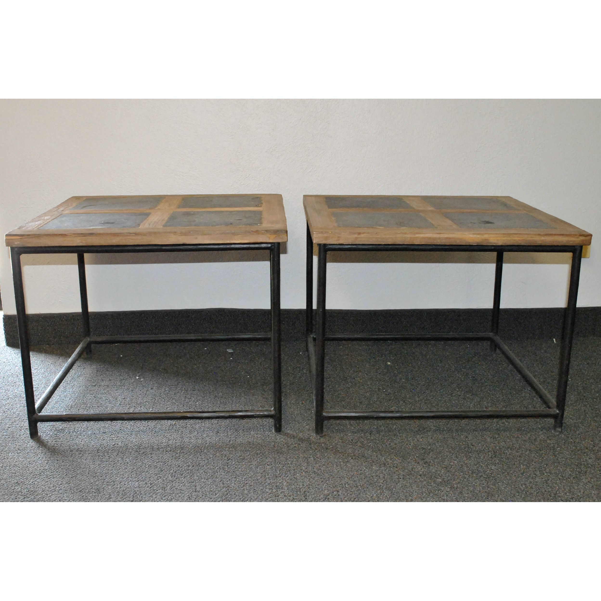 Wood and Stone Side Tables