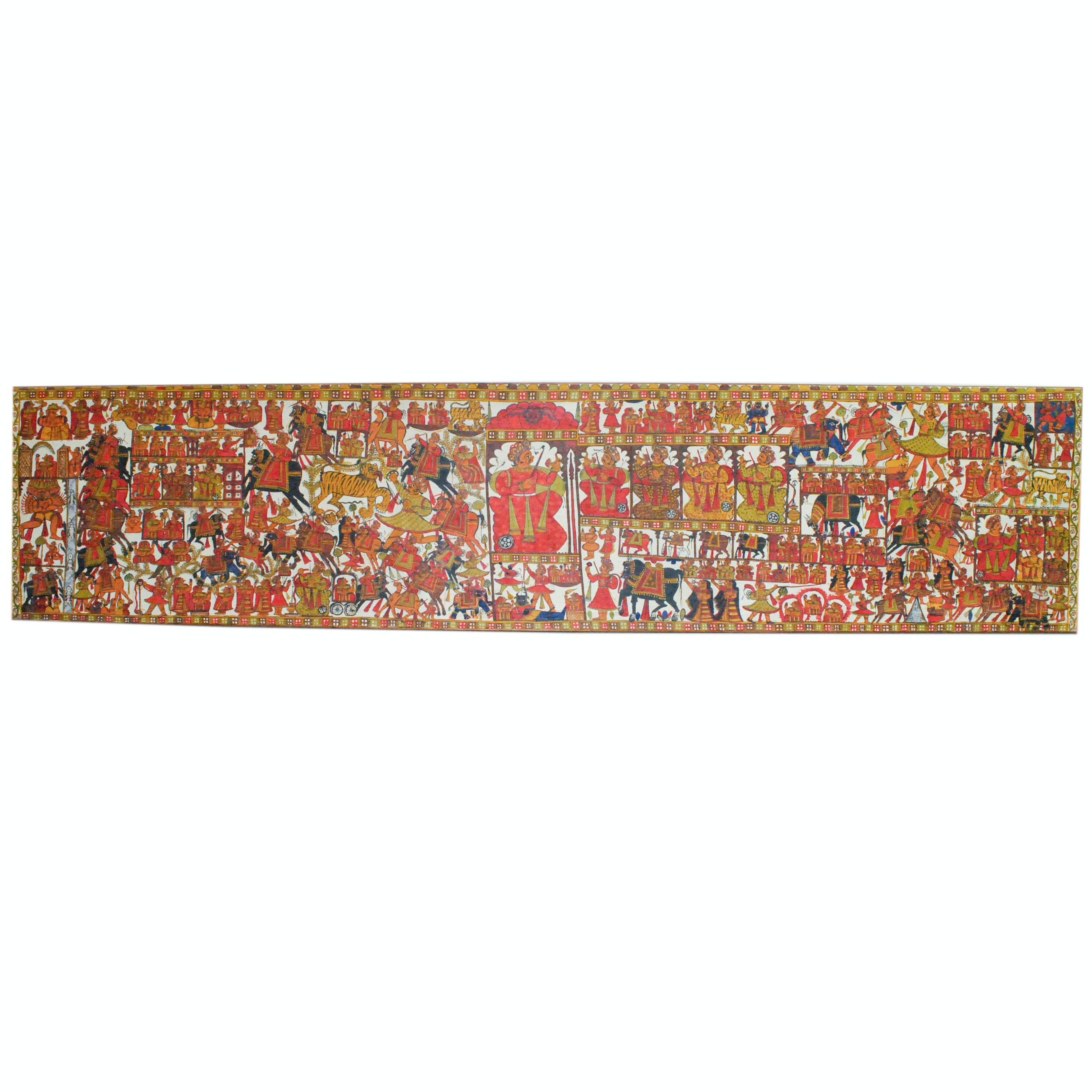 Framed Indian Phad Scroll Painting