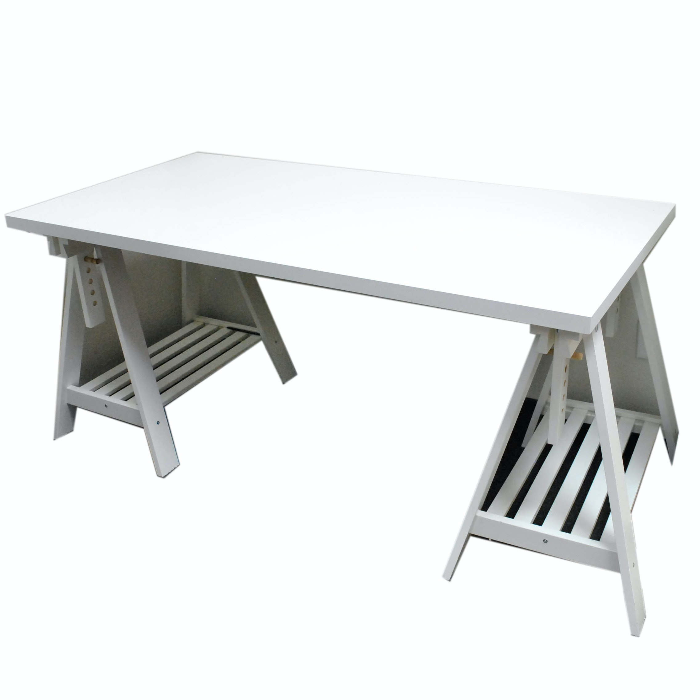 White Painted Drafting Table on Sawhorse Supports