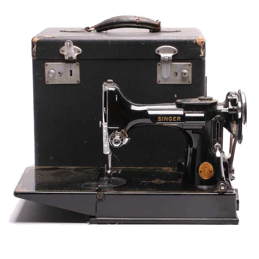 Vintage Singer Portable Sewing Machine EBTH Stunning Vintage Singer Portable Sewing Machine
