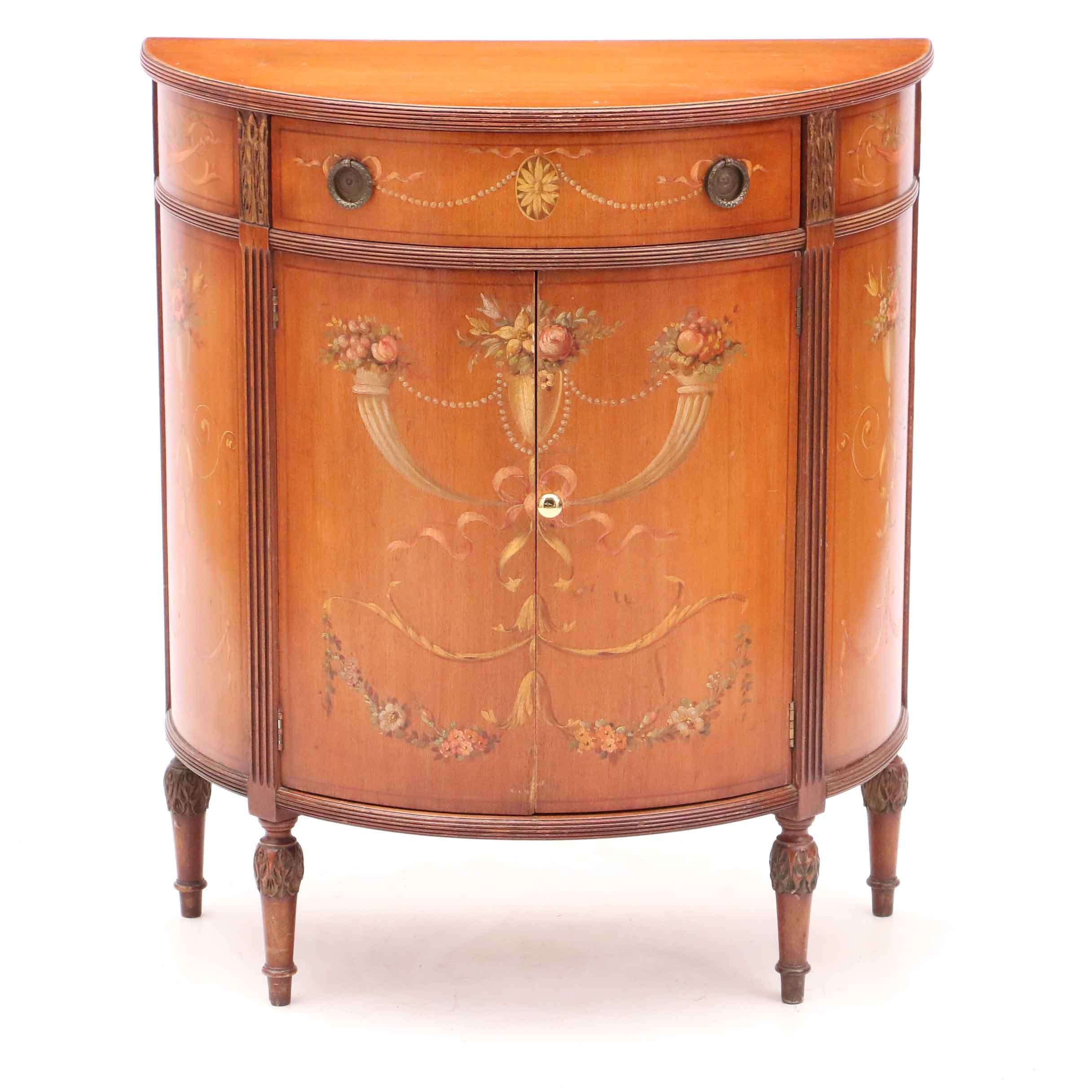 Adams Style Painted Mahogany Demilune Cabinet