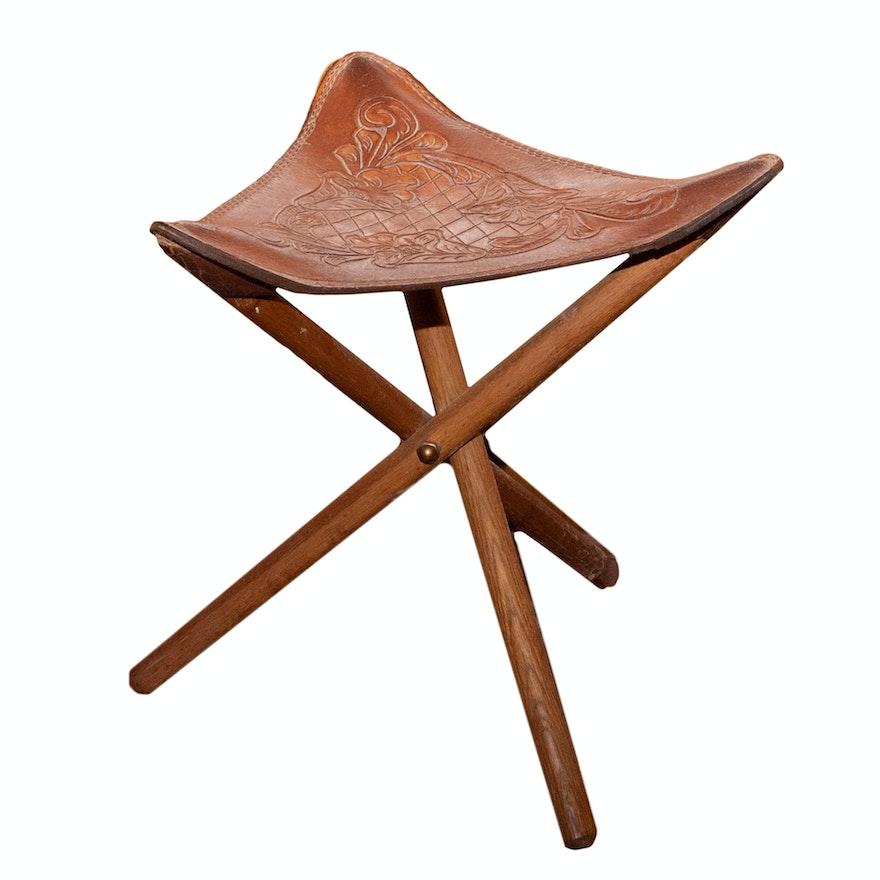 Fine Vintage Tooled Leather Folding Camp Stool Ibusinesslaw Wood Chair Design Ideas Ibusinesslaworg