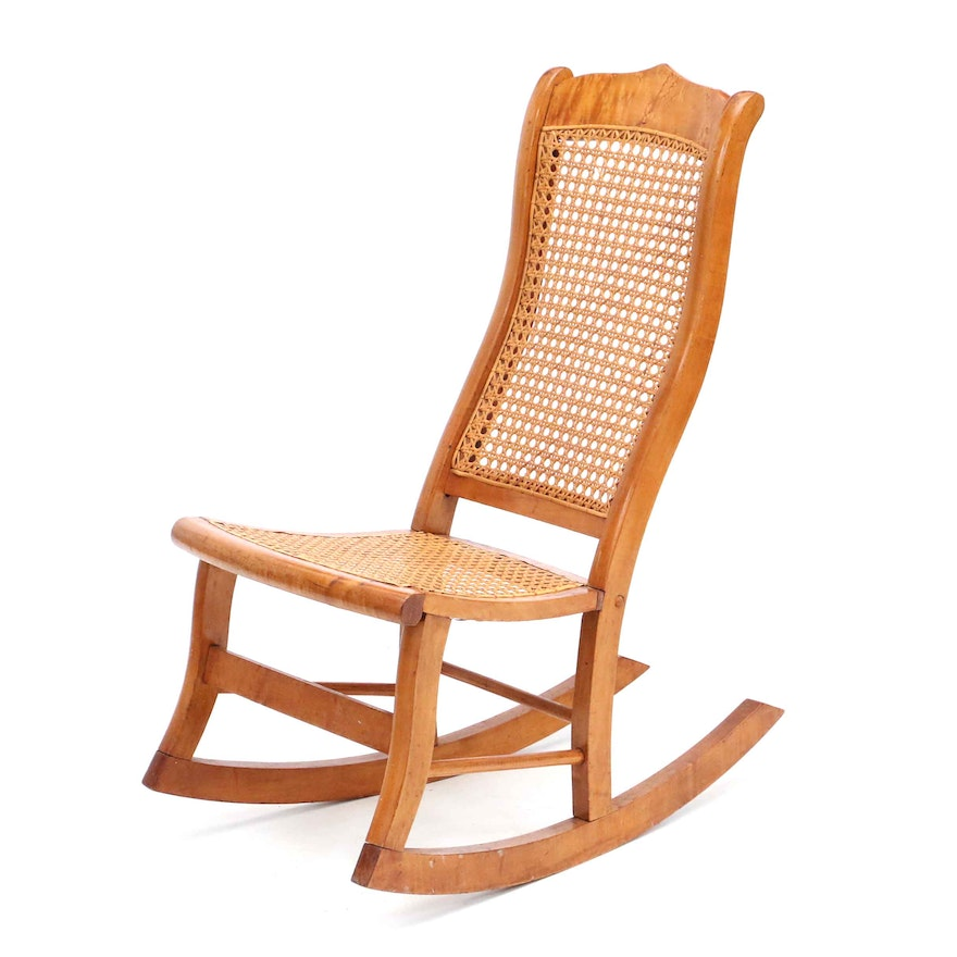 Antique Birds Eye Maple Rocking Chair ... - Antique Birds Eye Maple Rocking Chair : EBTH