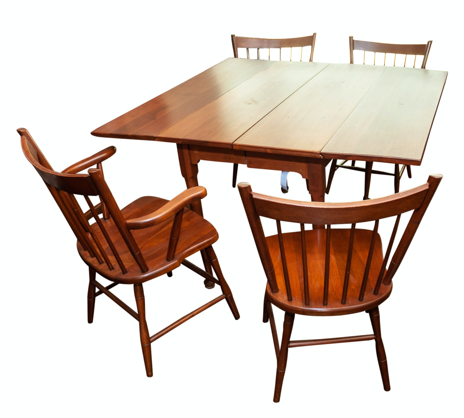 Walter of Wabash Cherry Drop Leaf Dining Table with Spindle Back Chairs