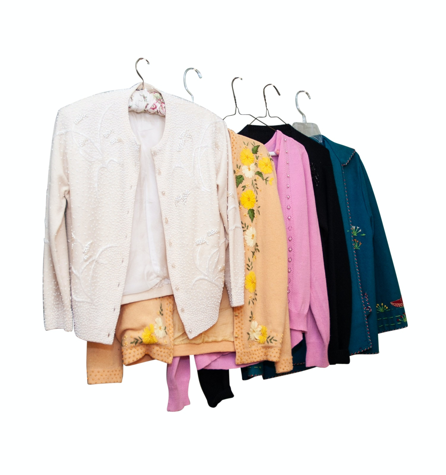 Vintage Beaded and Embroidered Cardigans and Mexican Embroidered Jacket