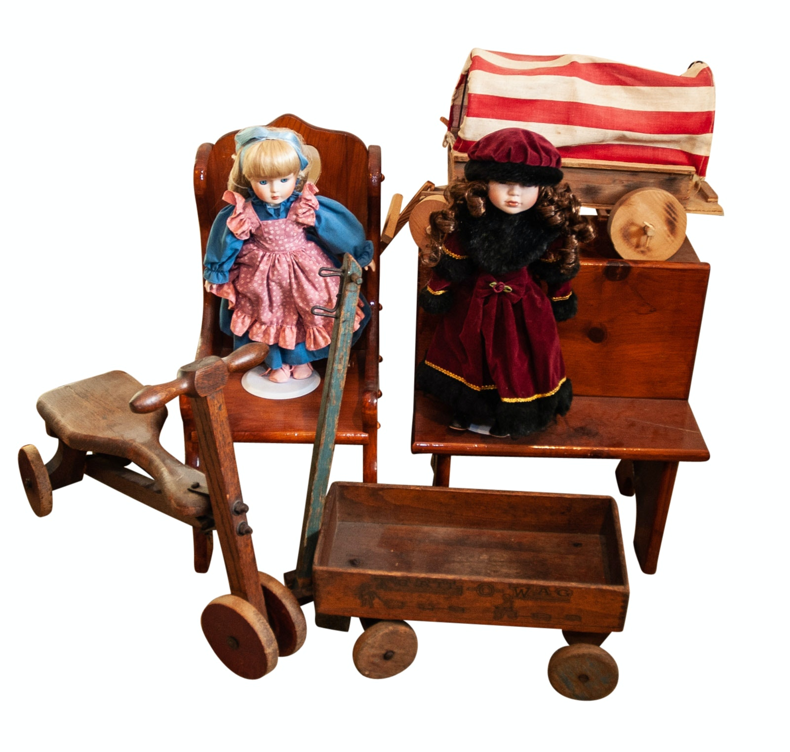 Pair of Bisque Hand-Painted Dolls and Wooden Doll Furniture