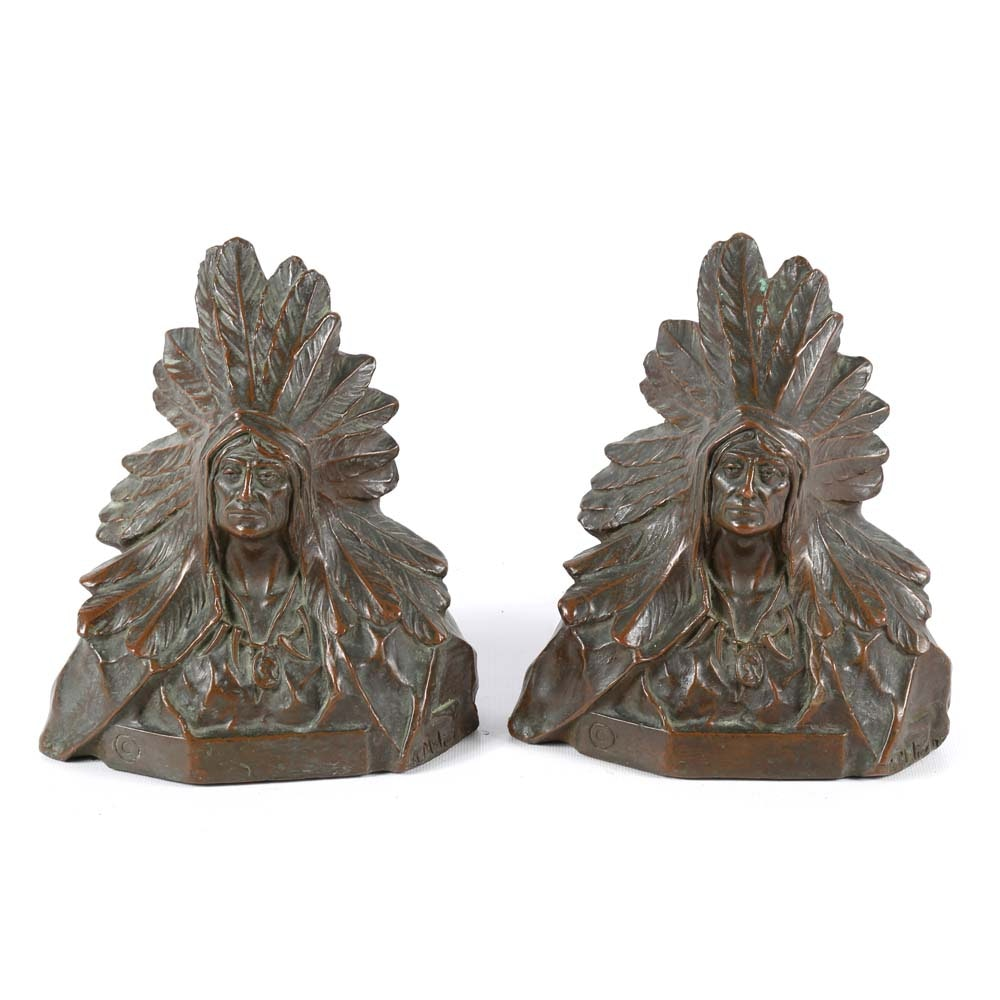 Jules Meliodon Native American Style Bronze Bookends