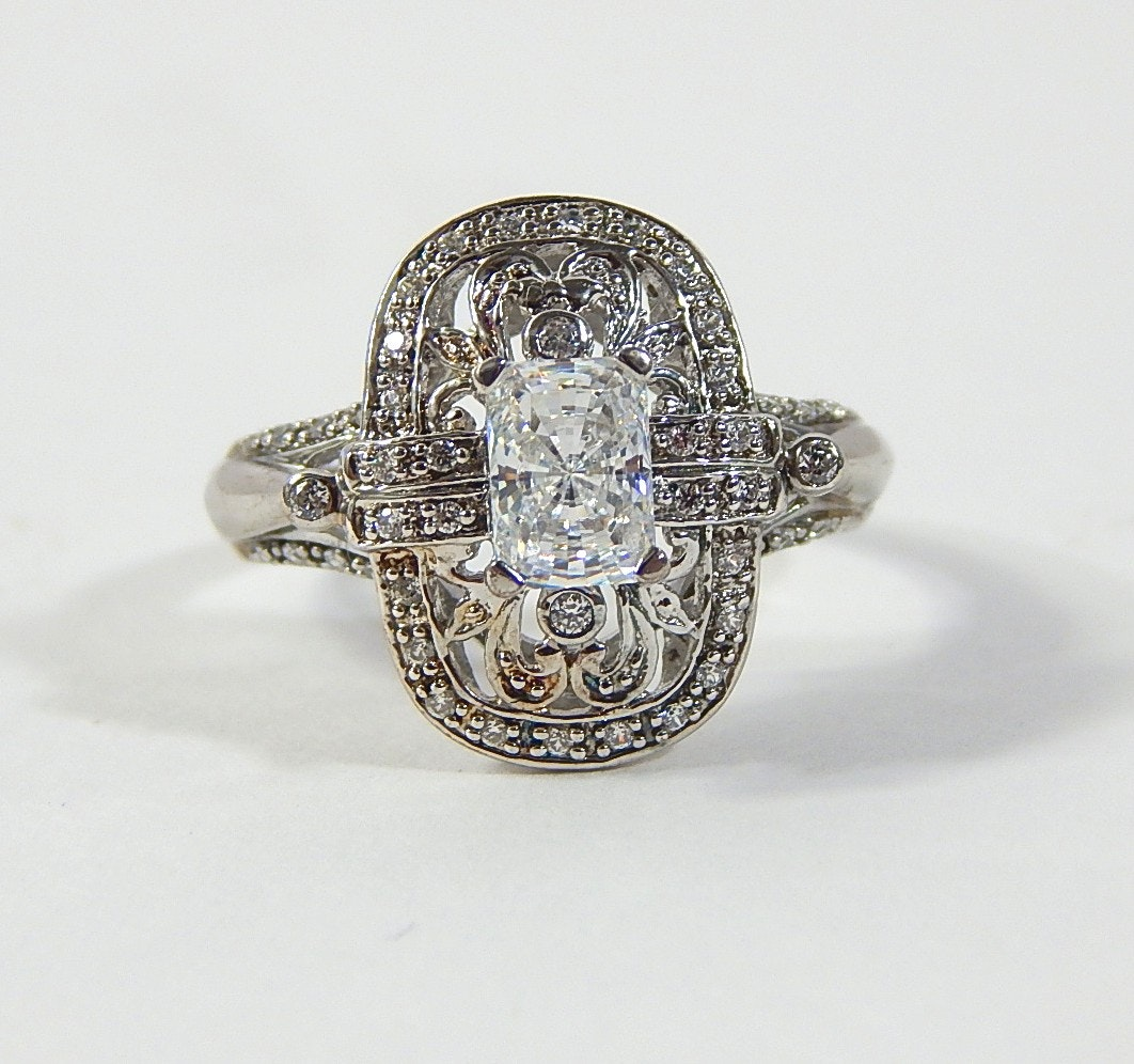 Vintage Inspired Sterling Silver Cubic Zirconia Ring