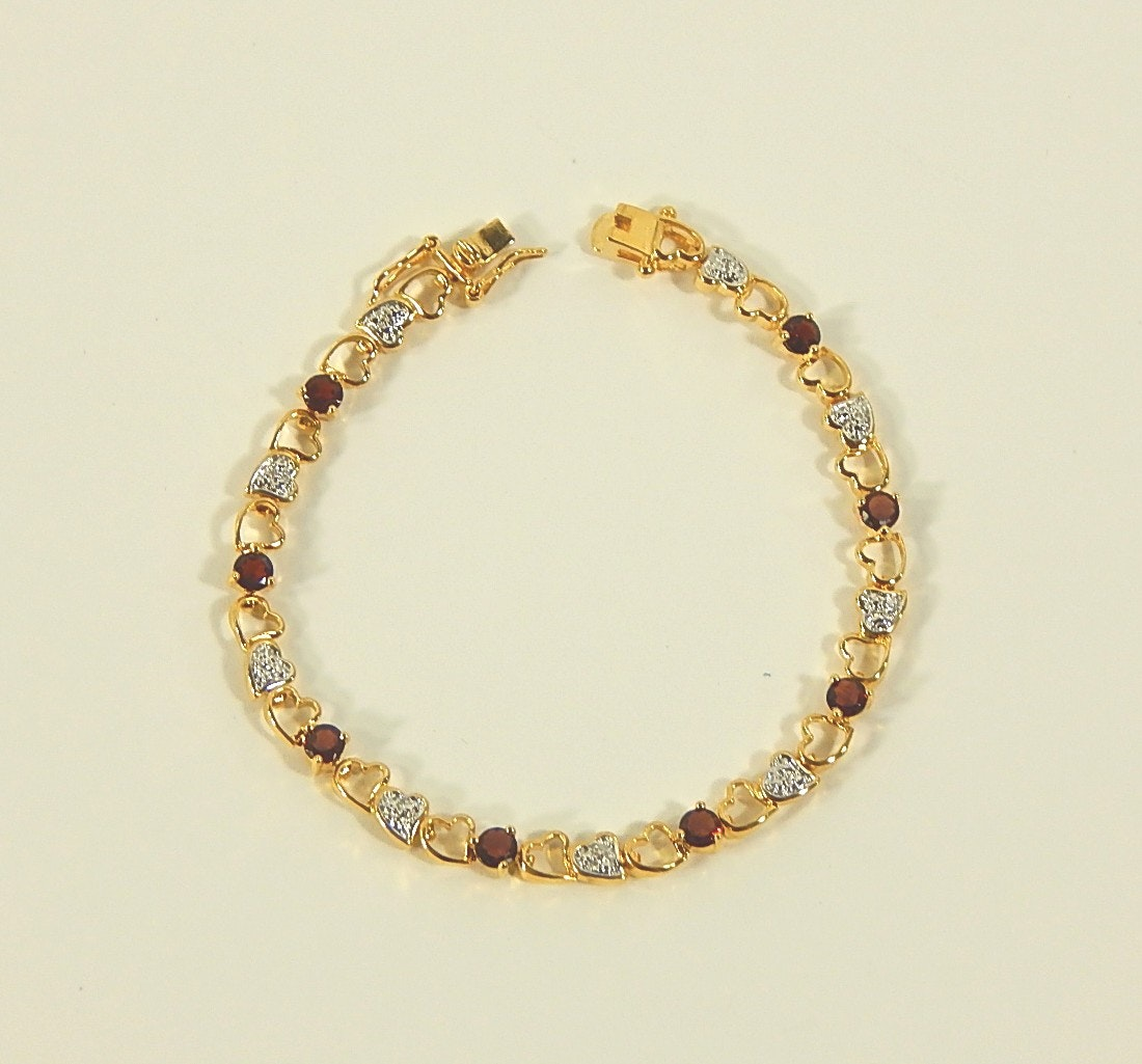 Sterling Silver Gold Wash Cubic Zirconia Heart Bracelet