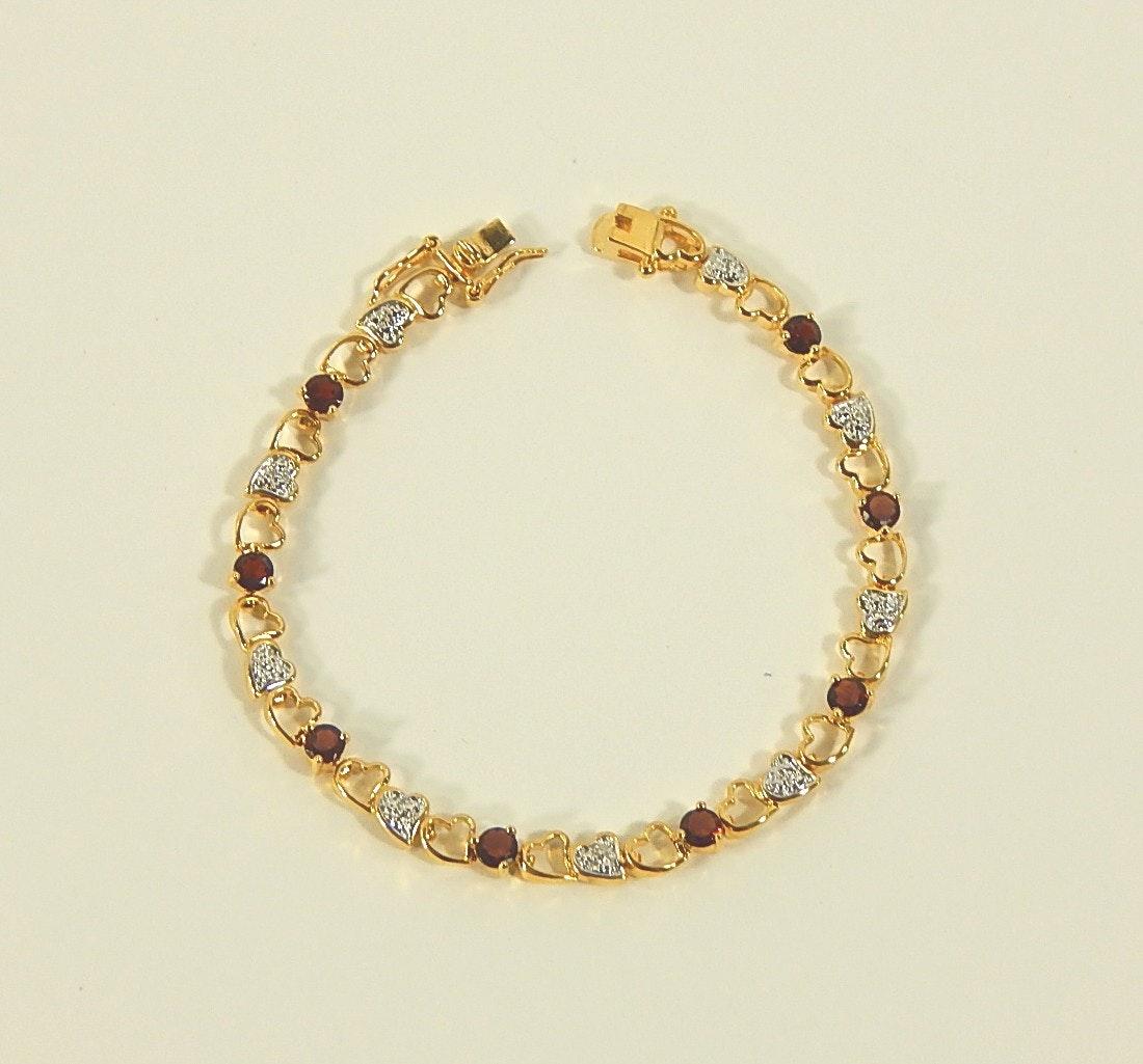 Sterling Silver Gold Wash Cubic Zirconia Heart Bracelet