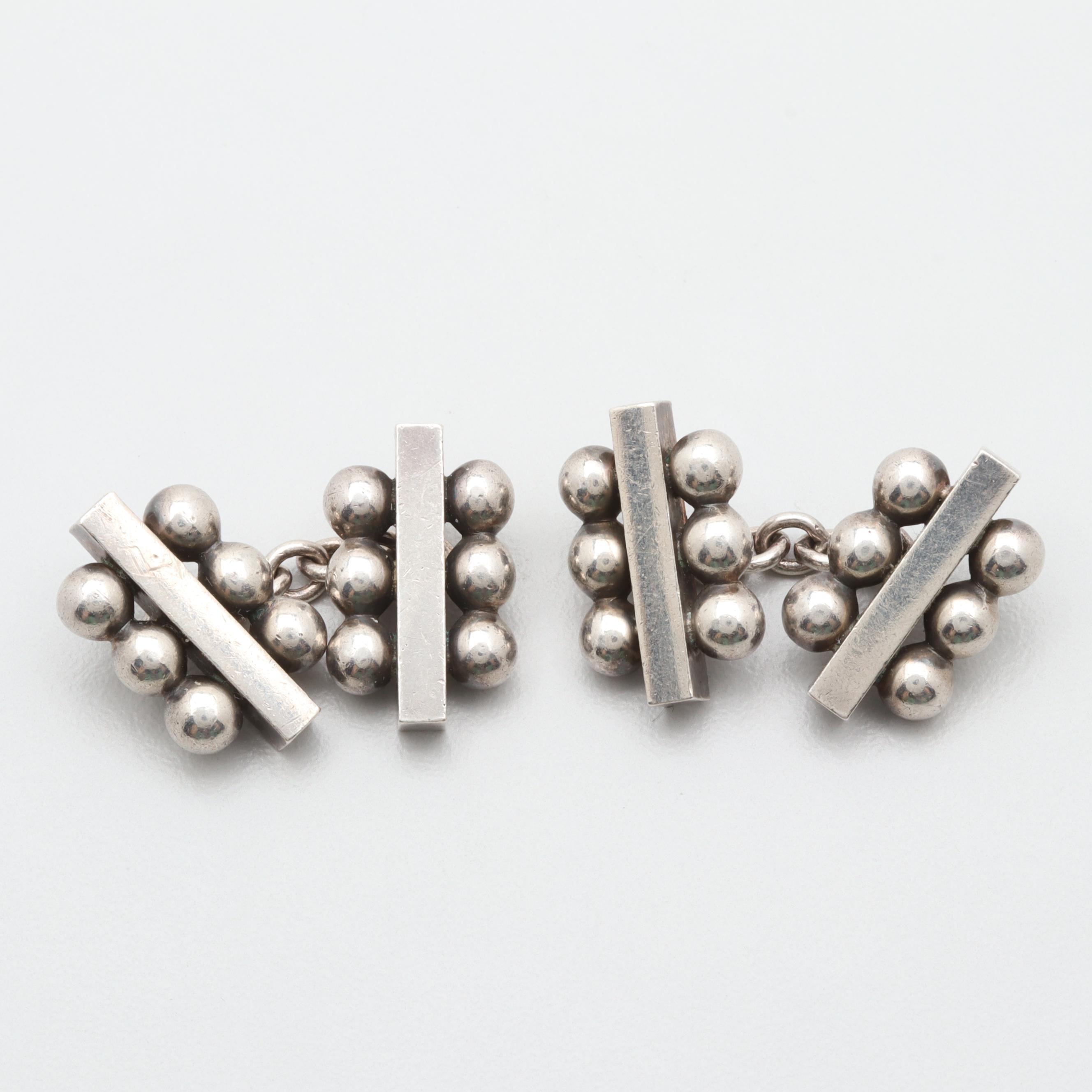 Danish Modernist Harald Nielsen for Georg Jensen Sterling Silver Cufflinks