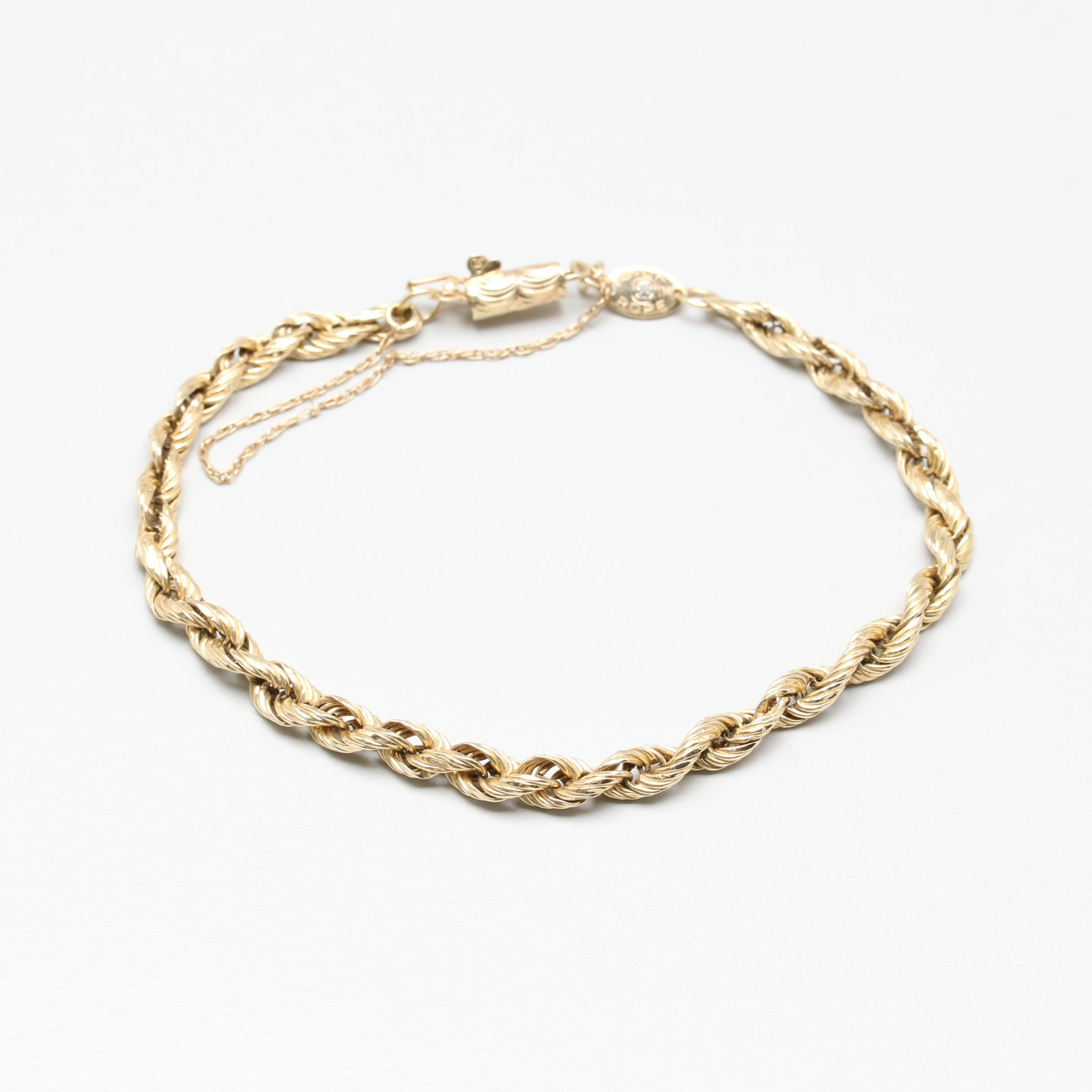14K Yellow Gold Diamond French Rope Bracelet
