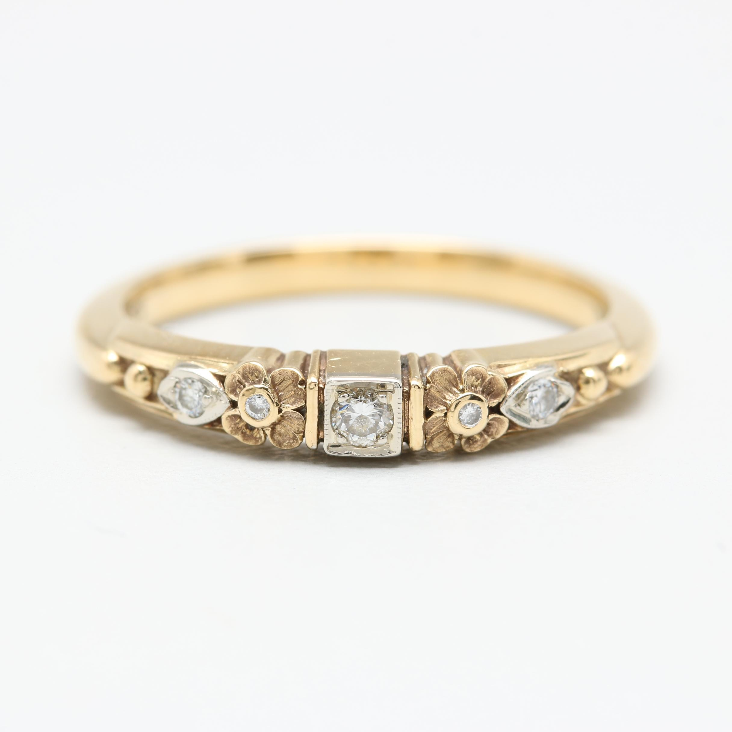 18K Yellow Gold Diamond Floral Motif Ring