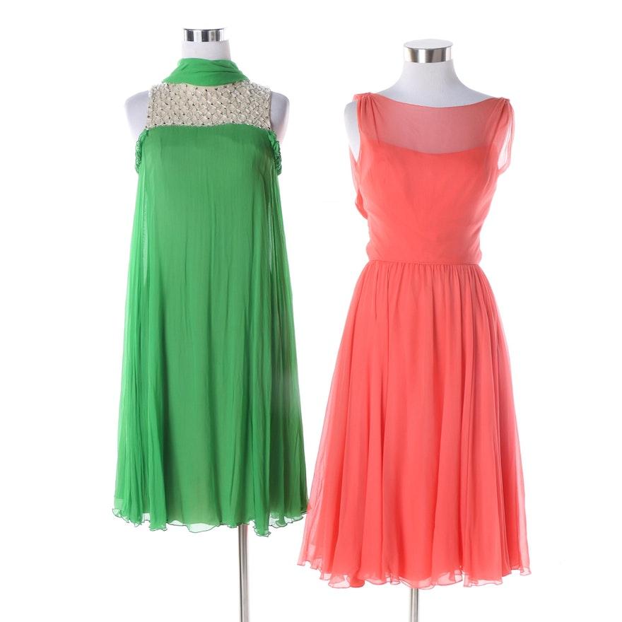 4d6c5c18ecf38 Women s 1960s Vintage Lord   Taylor and Frank Starr Silk Chiffon Evening  Dresses   EBTH