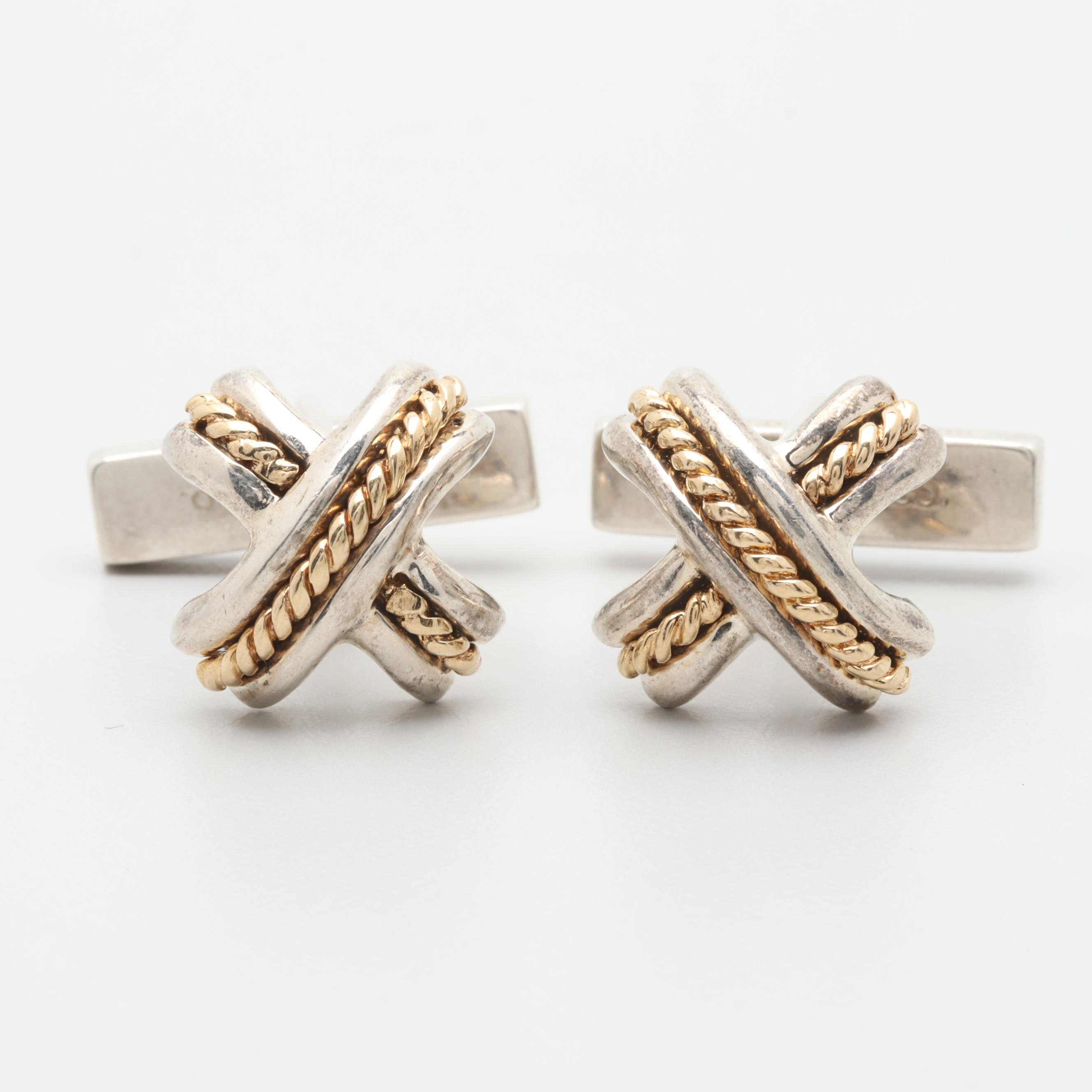 Tiffany & Co. Sterling Silver Cufflinks with 18K Yellow Gold Accents