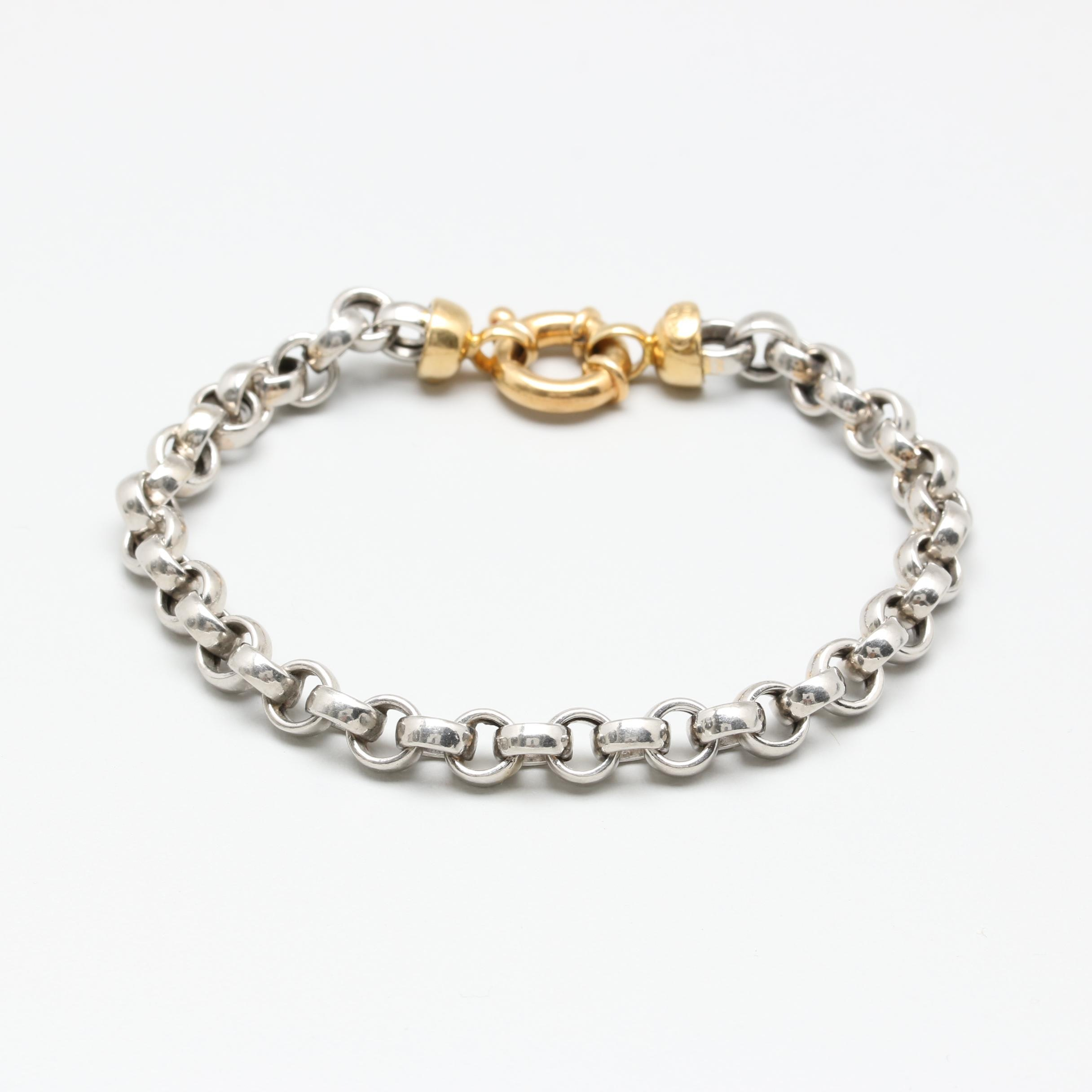 Platinum Rolo Link and 18K Yellow Gold Clasp Bracelet