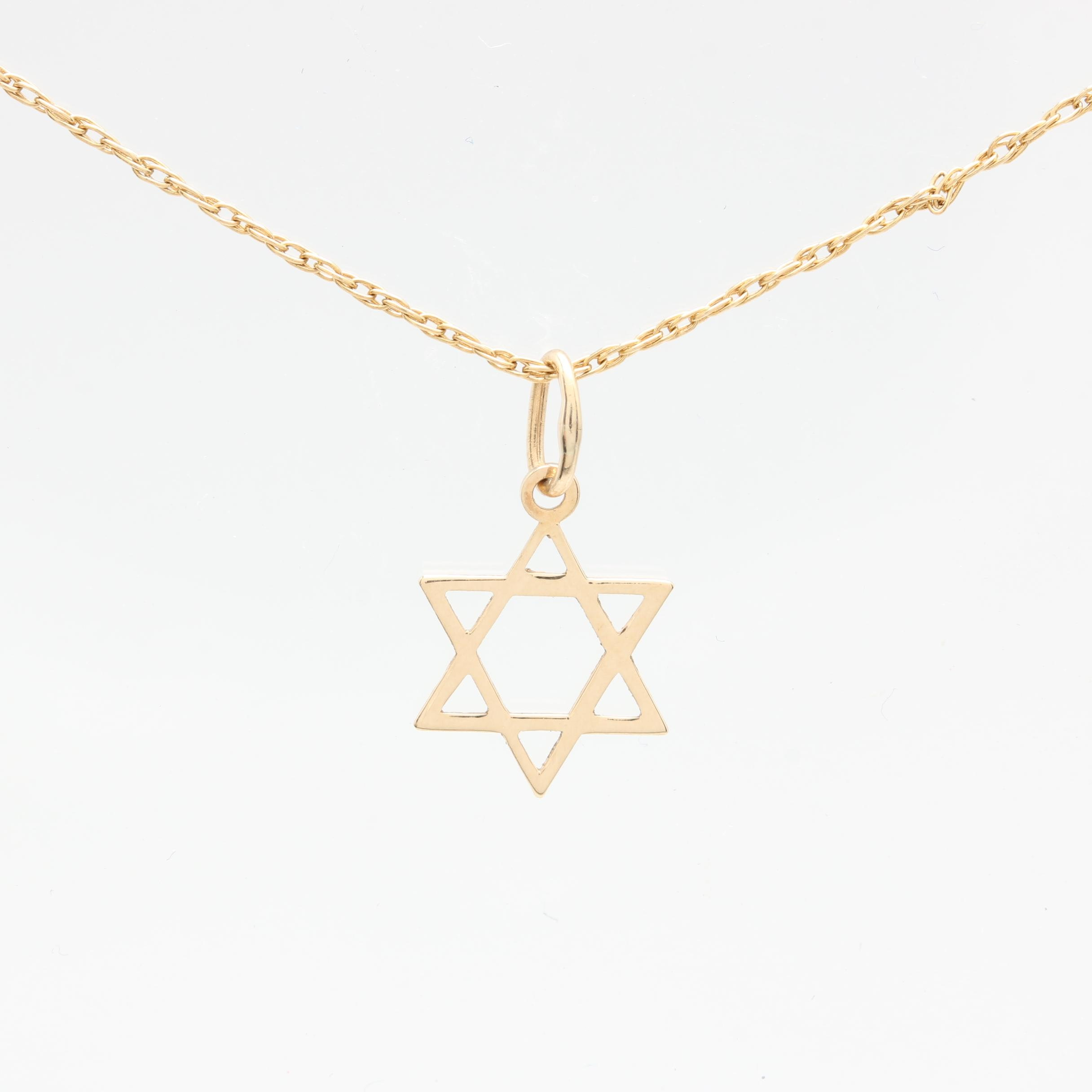 14K Yellow Gold Star of David Necklace