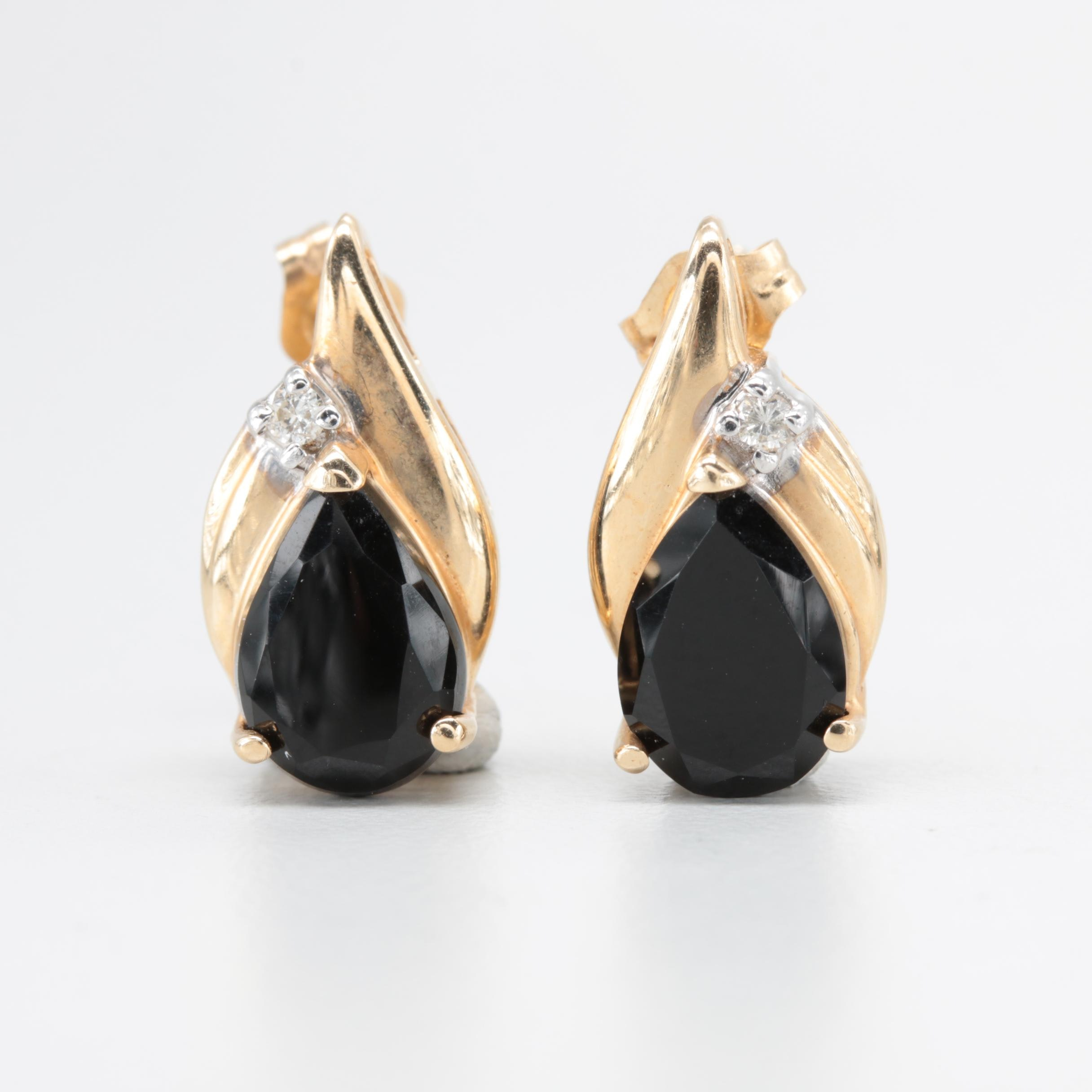 Alwand Vahan 14K Yellow Gold Black Onyx and Diamond Earrings