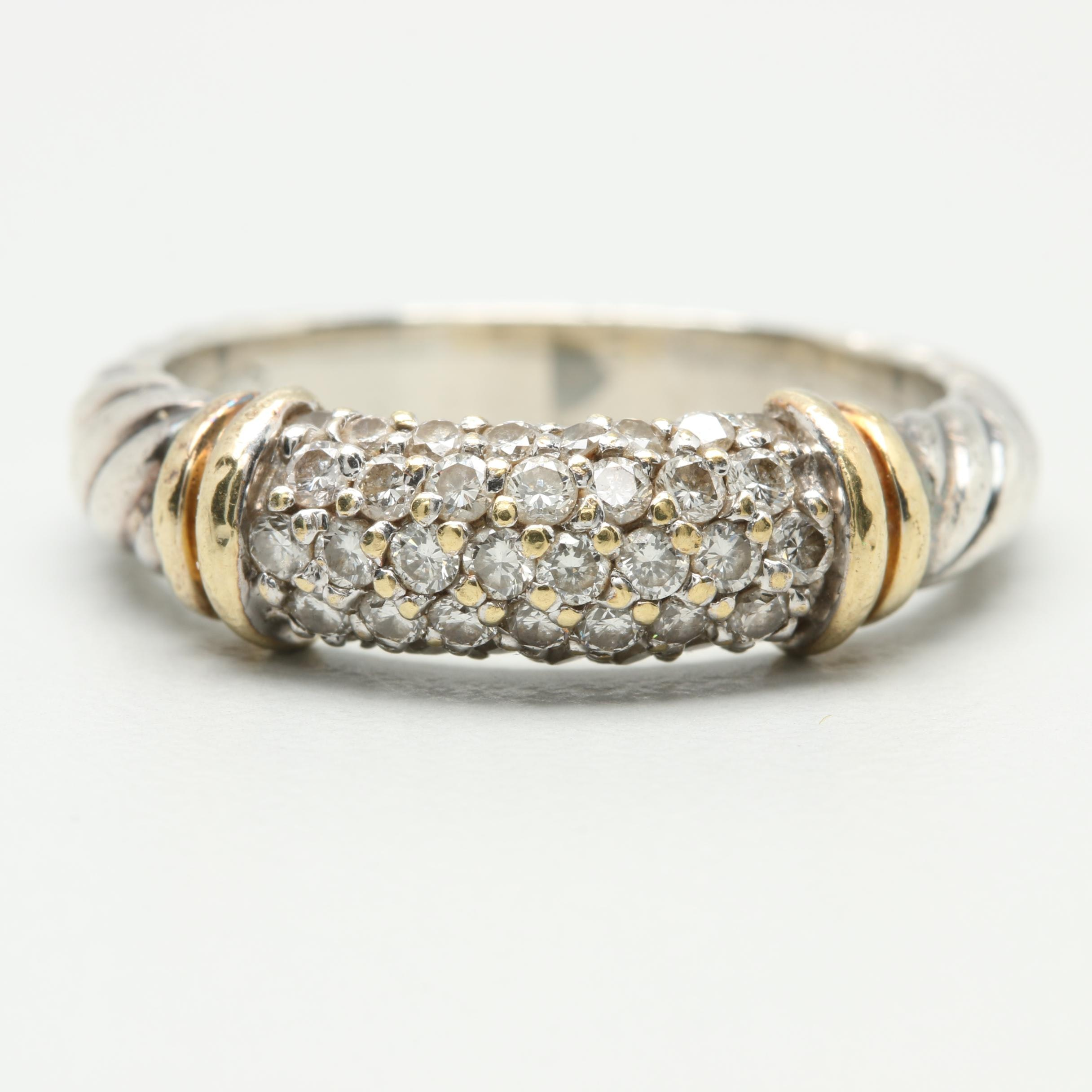 David Yurman Sterling Silver Diamond Ring with 18K Gold Accents