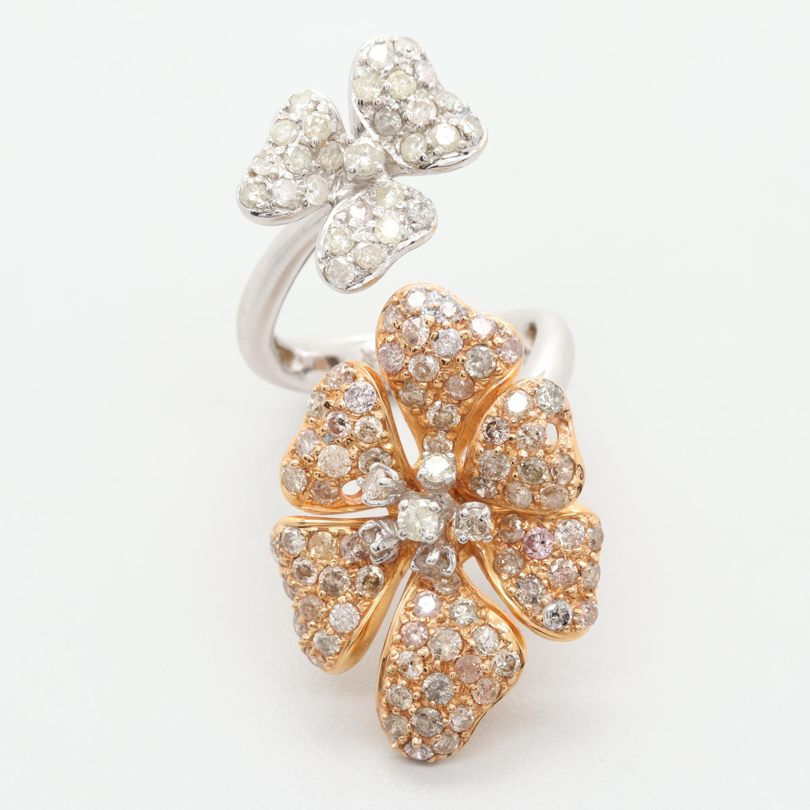 18K Yellow and White Gold 2.82 CTW Diamond Flower Ring