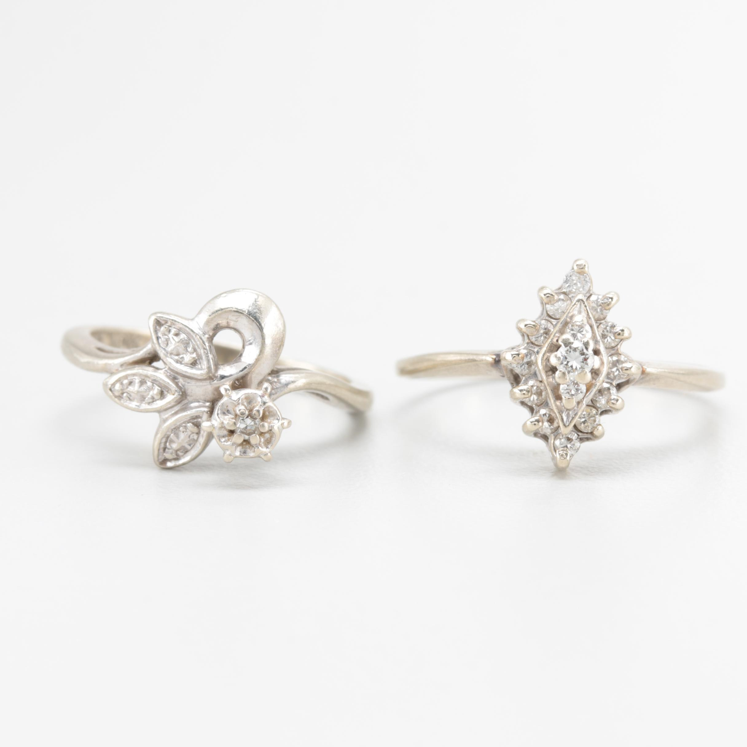 10K and 14K White Gold Diamond Ring Selection