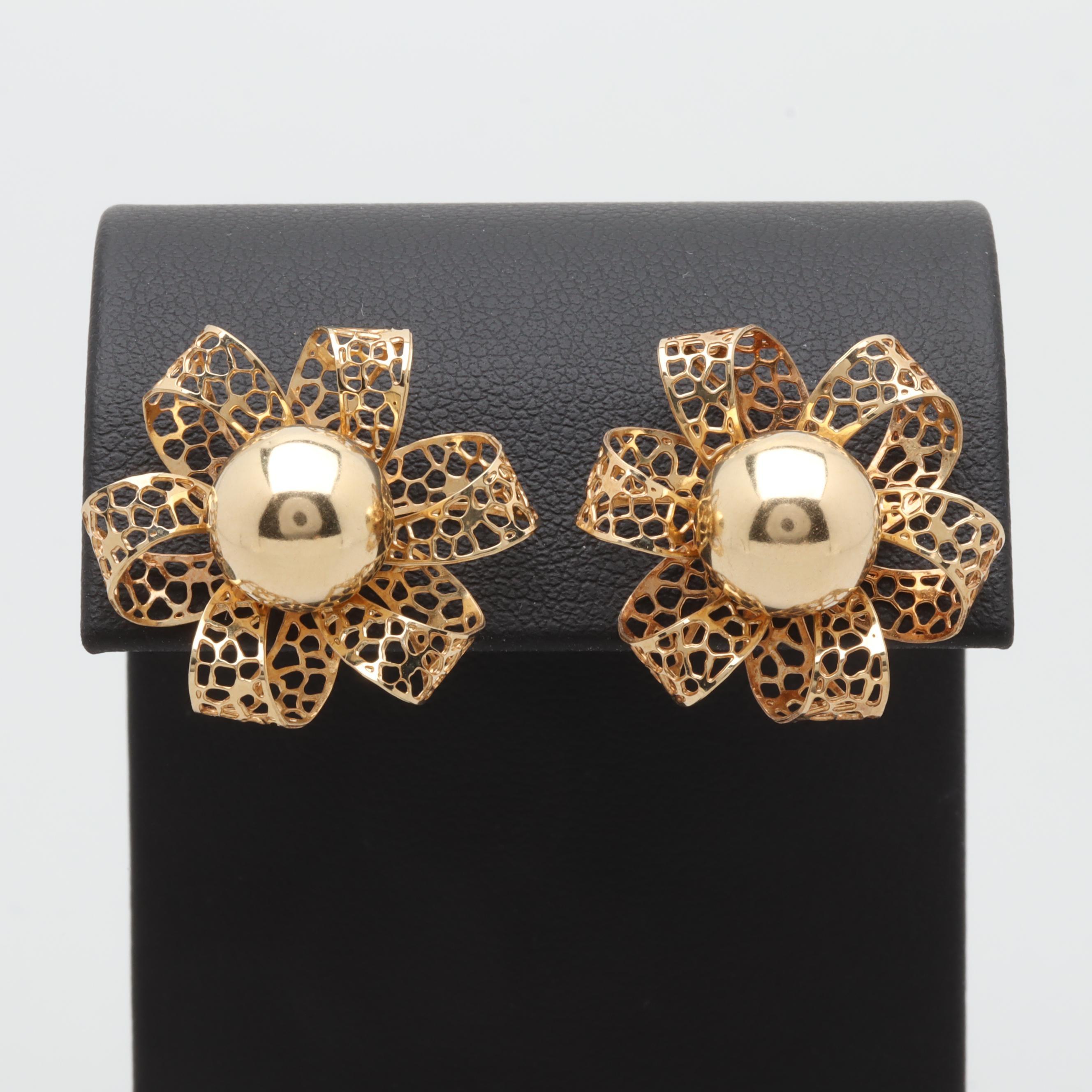 14K Yellow Gold Stud Earrings With Flower Motif Jackets