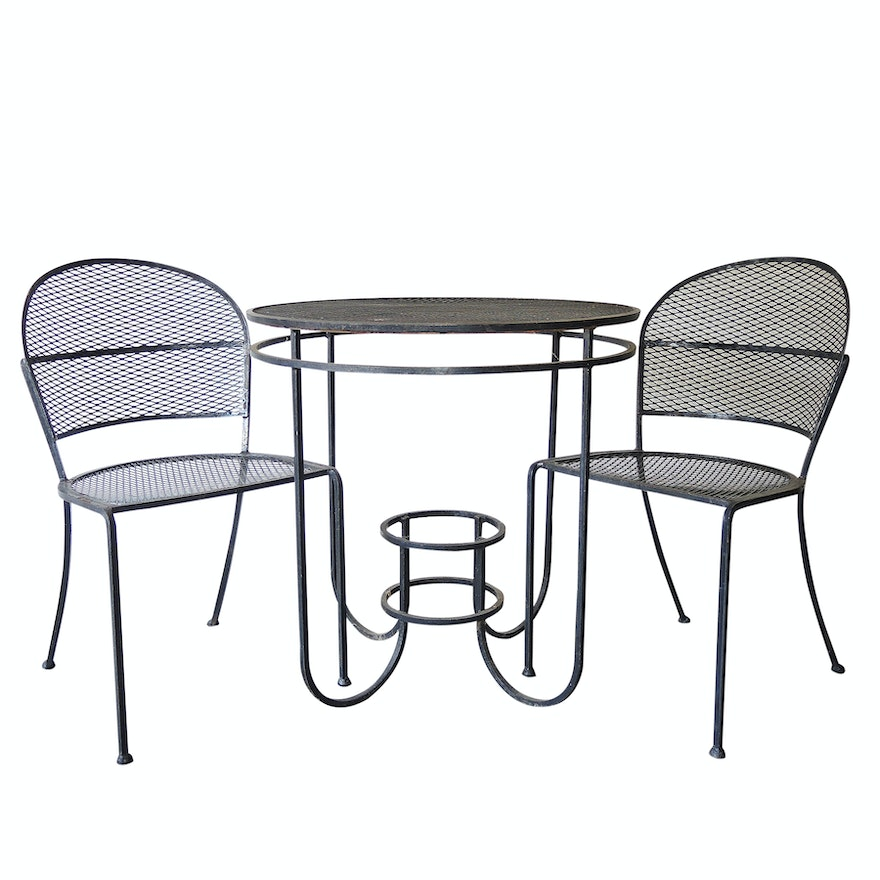 Wrought Iron Patio Table And Two Chairs