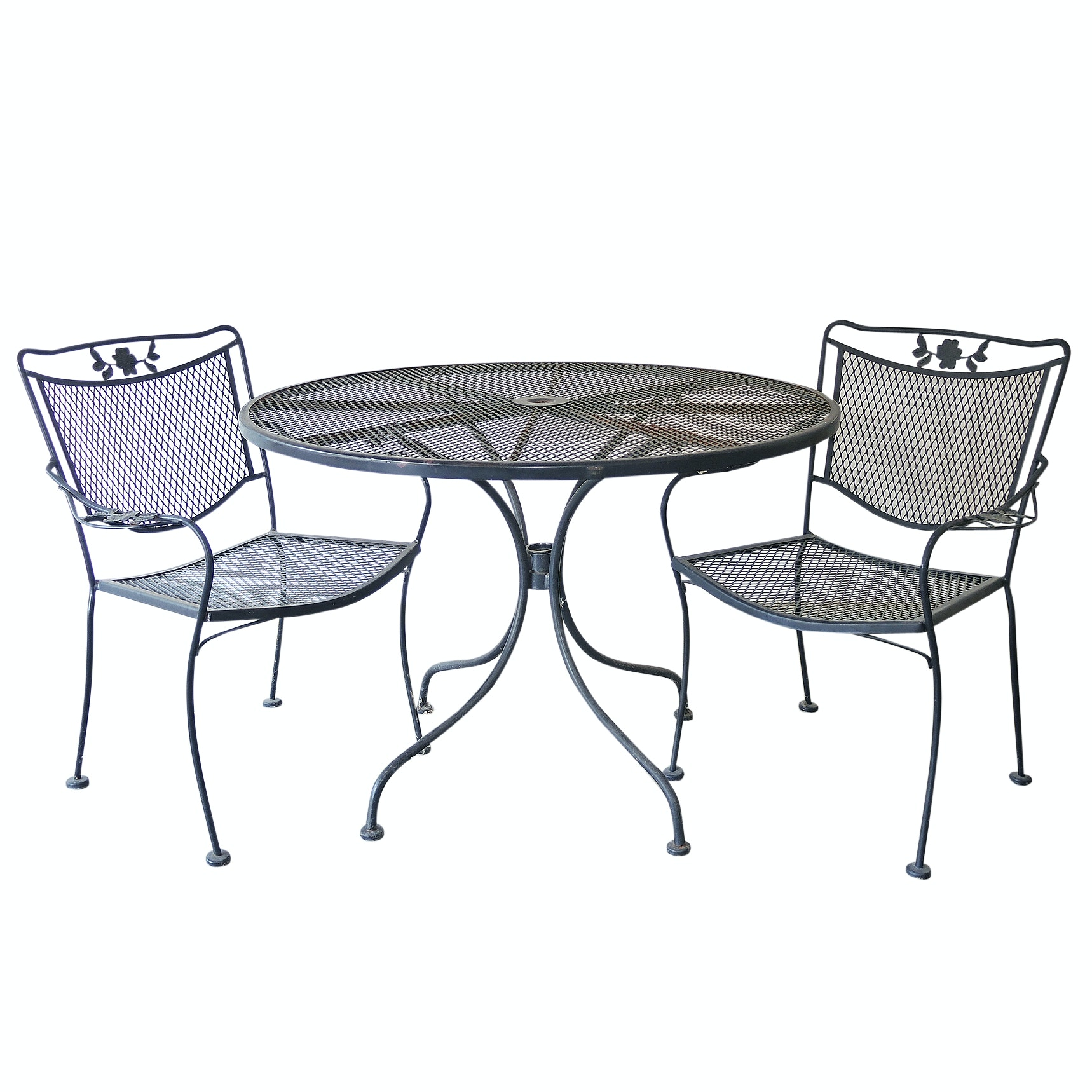 Round Wrought Iron Patio Table and Two Chairs