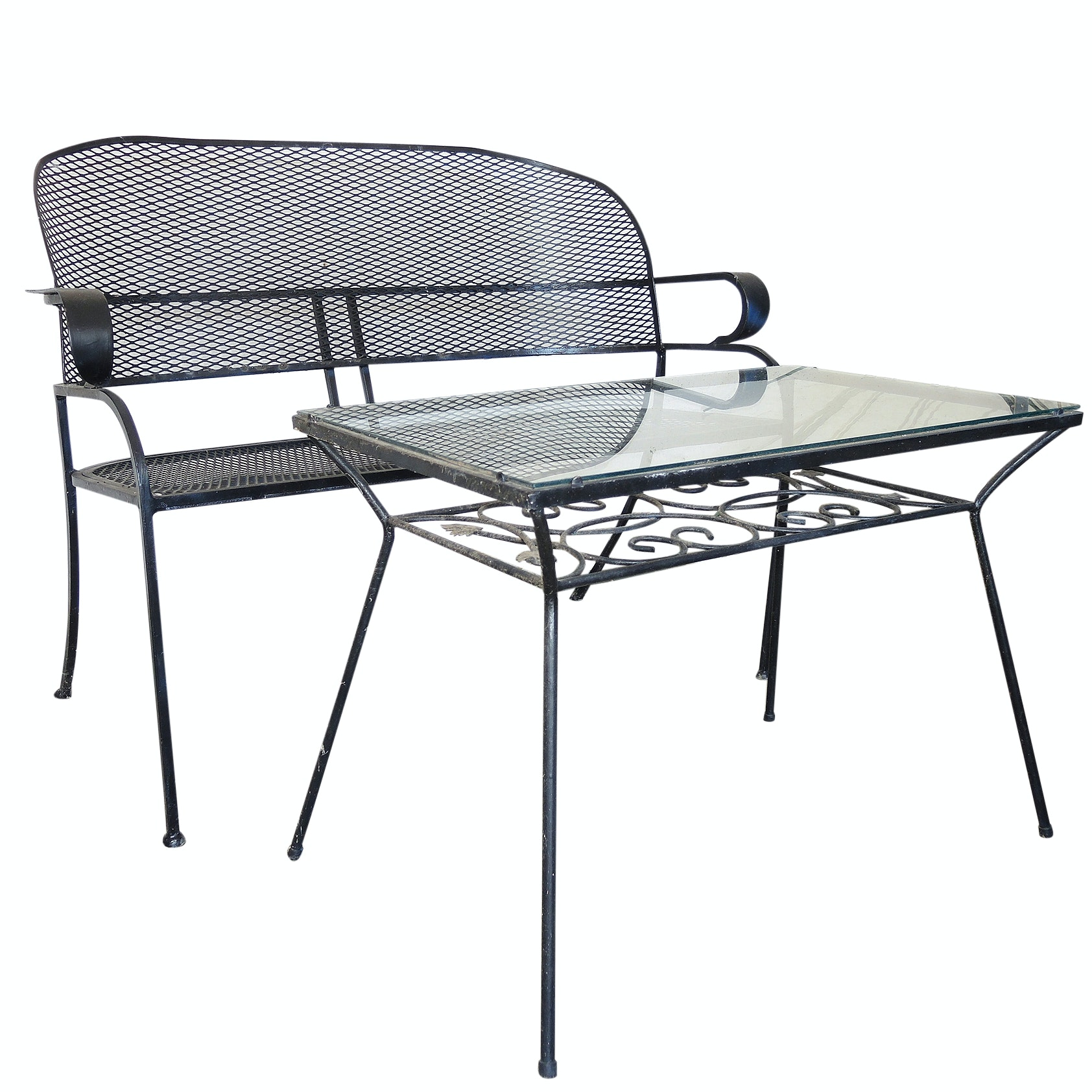 Wrought Iron Patio Loveseat with Cushions and Table
