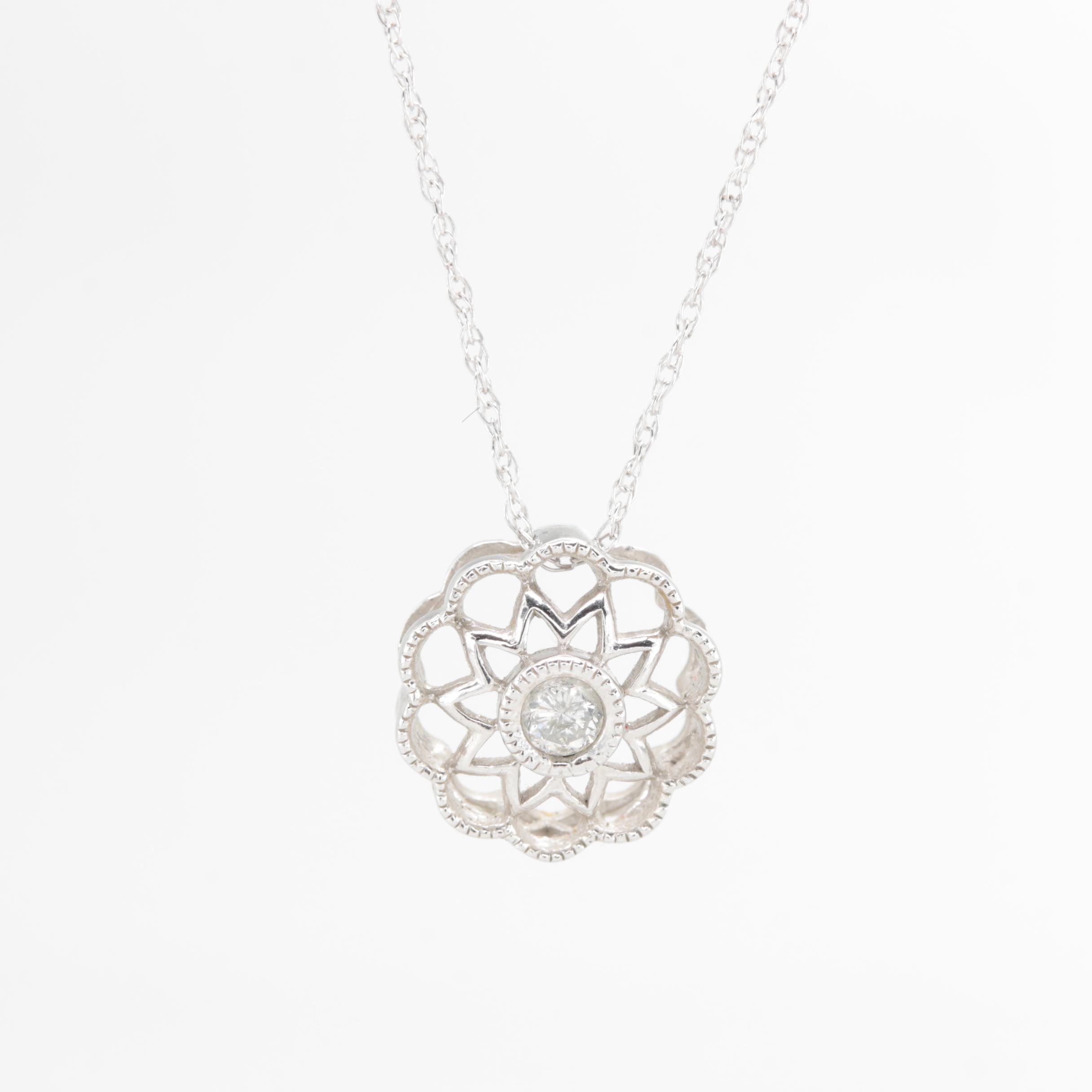 Alwand Vahan 10K White Gold Diamond Pendant Necklace