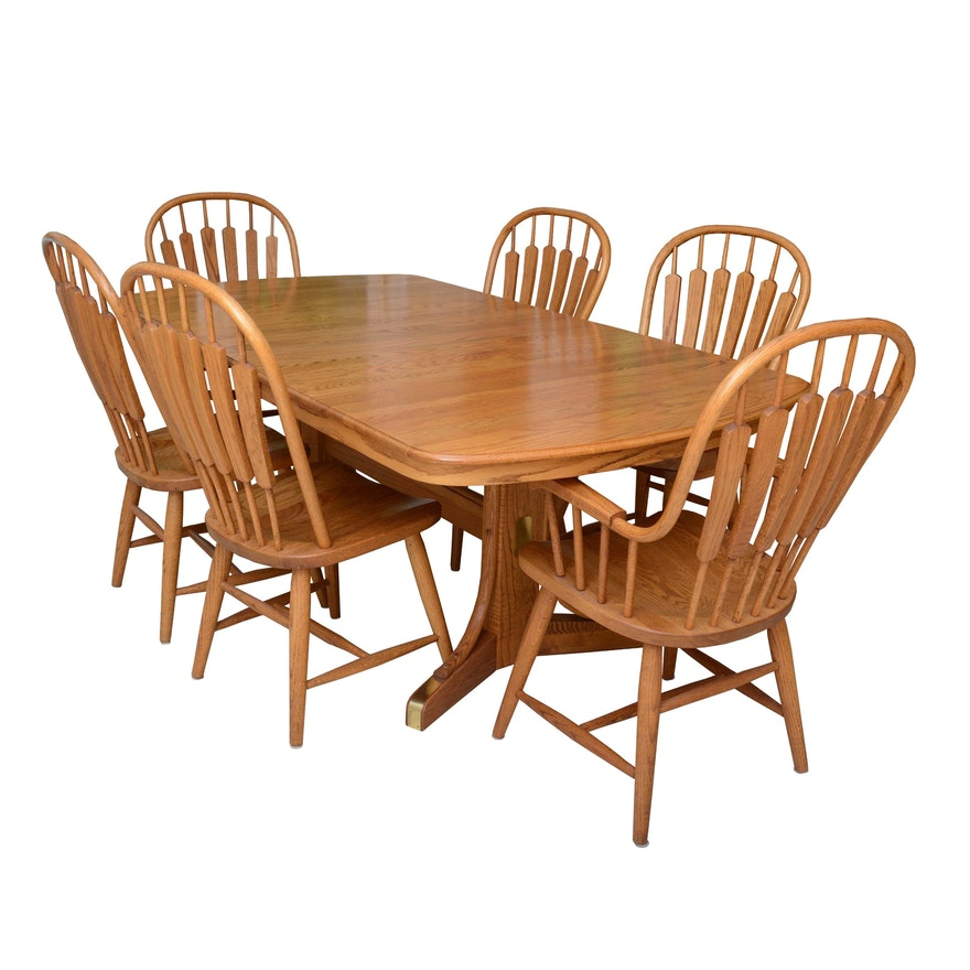 Oak Dining Table And Windsor Style Chairs Set By Richardson Brothers Ebth