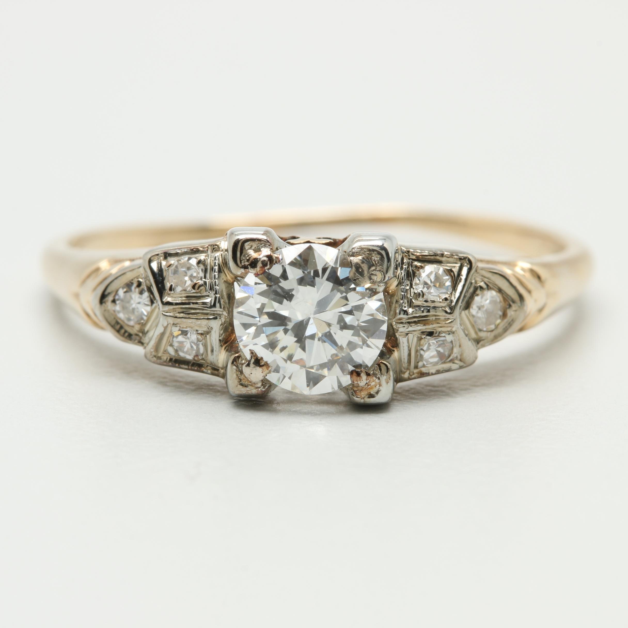 14K and 18K Yellow and White Gold Diamond Ring