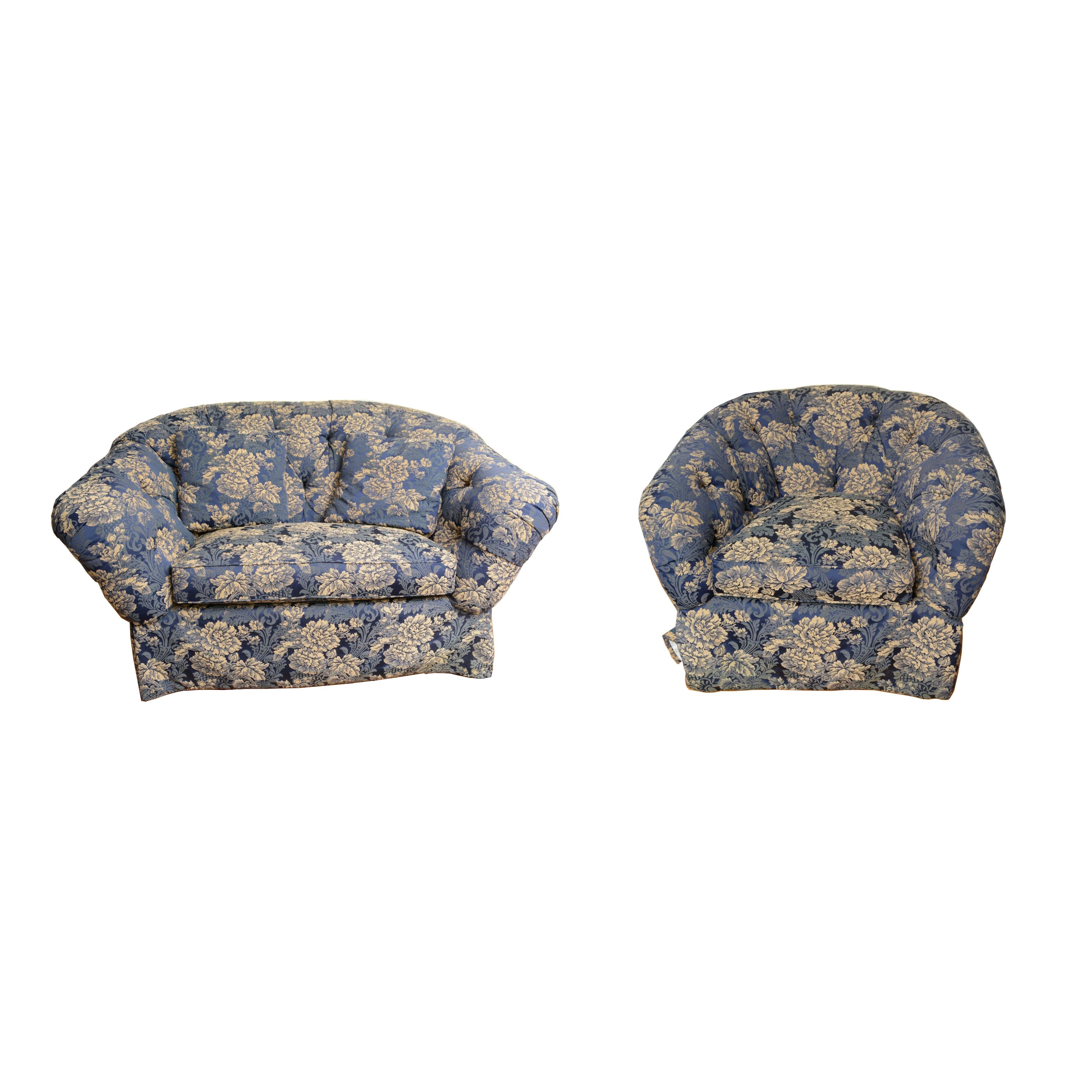 Floral Upholstered Loveseat and Armchair by Frederick Edward