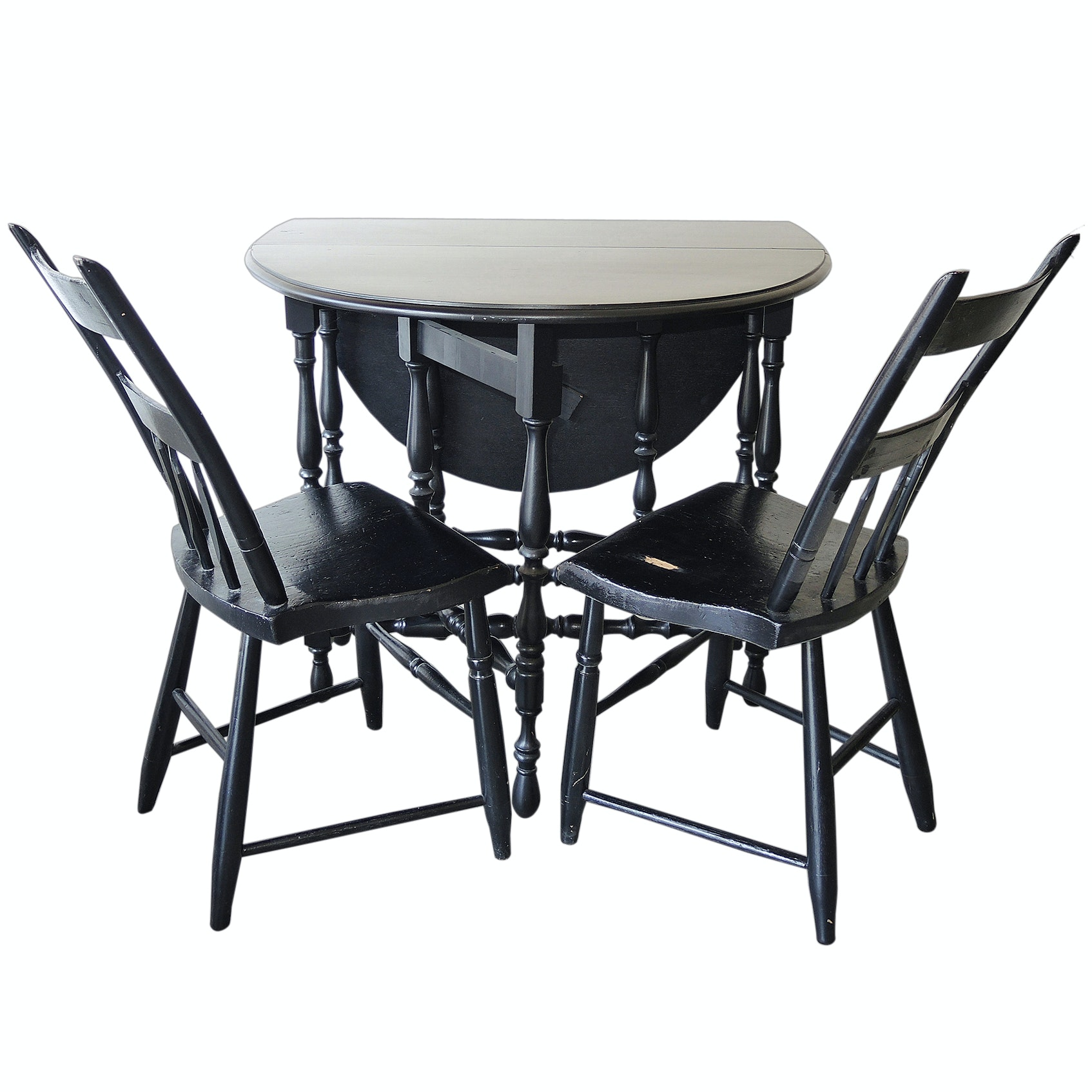 Oval Gate Leg Table with Two Chairs in Black