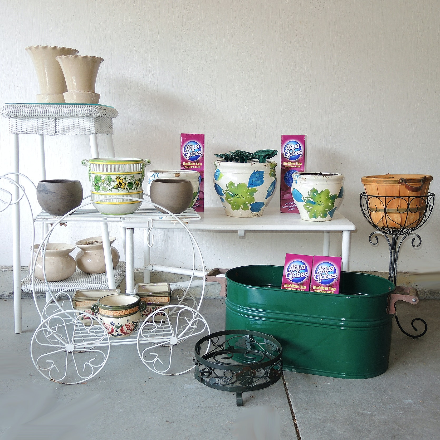 Wicker Plant Stand, Ficks Reed Table, Bybee Pottery Flower Pots and More