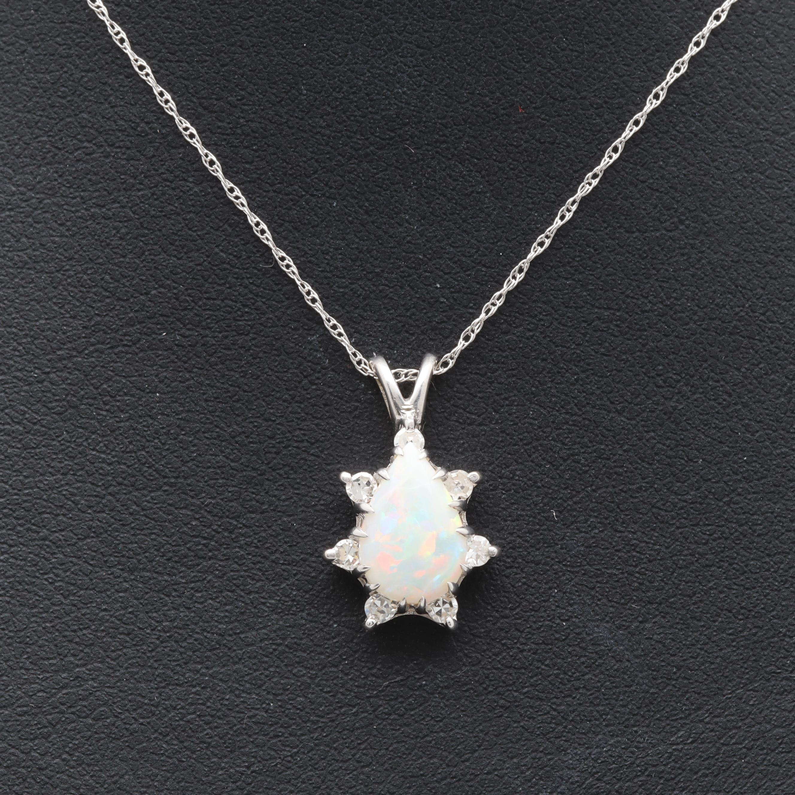 10K and 14K White Gold Opal and Diamond Pendant Necklace