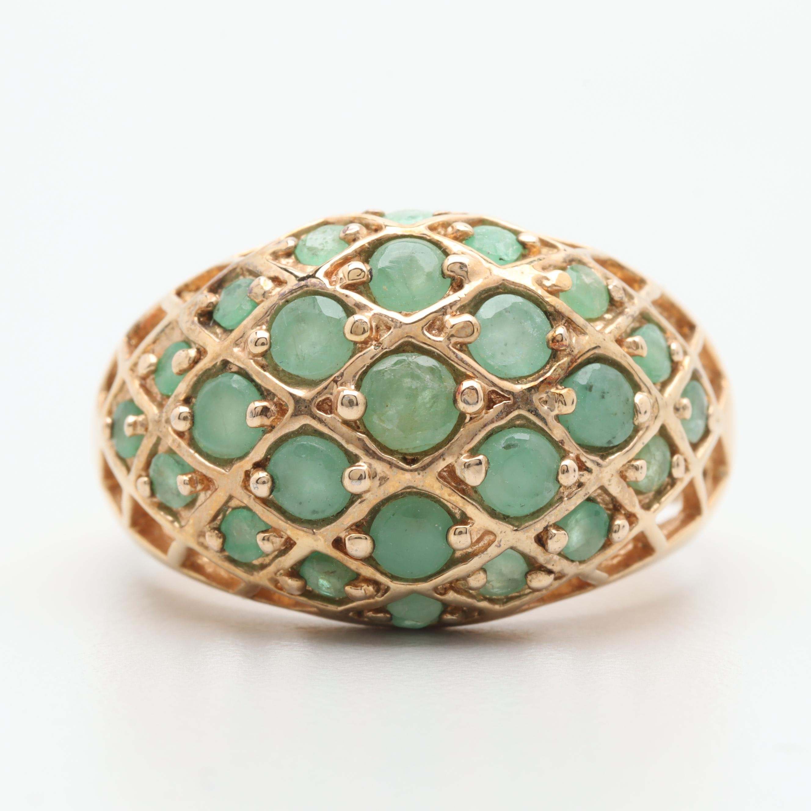 Gold Wash on Sterling Silver Emerald Ring
