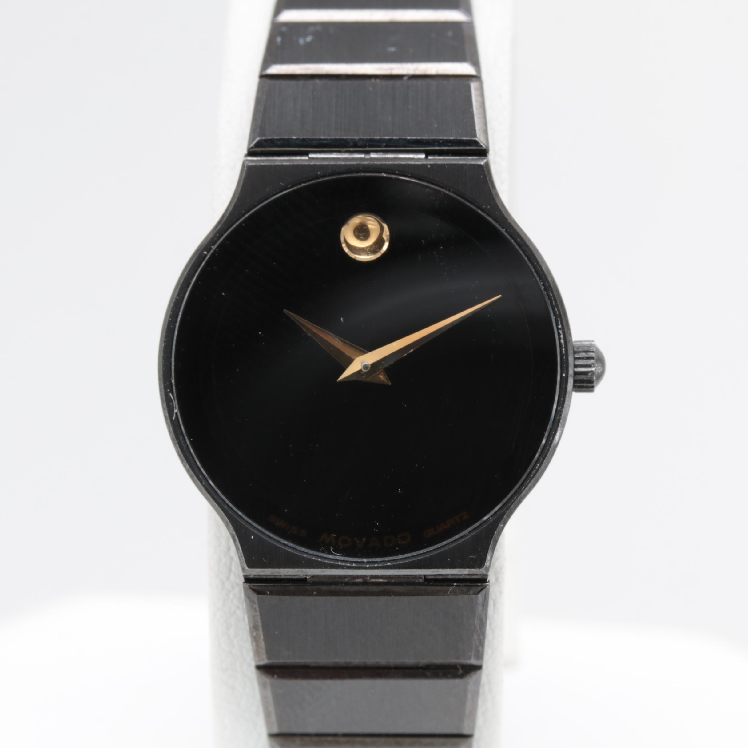 "Movado ""Museum Piece"" Stainless Steel and Black Ion Analog Wristwatch"