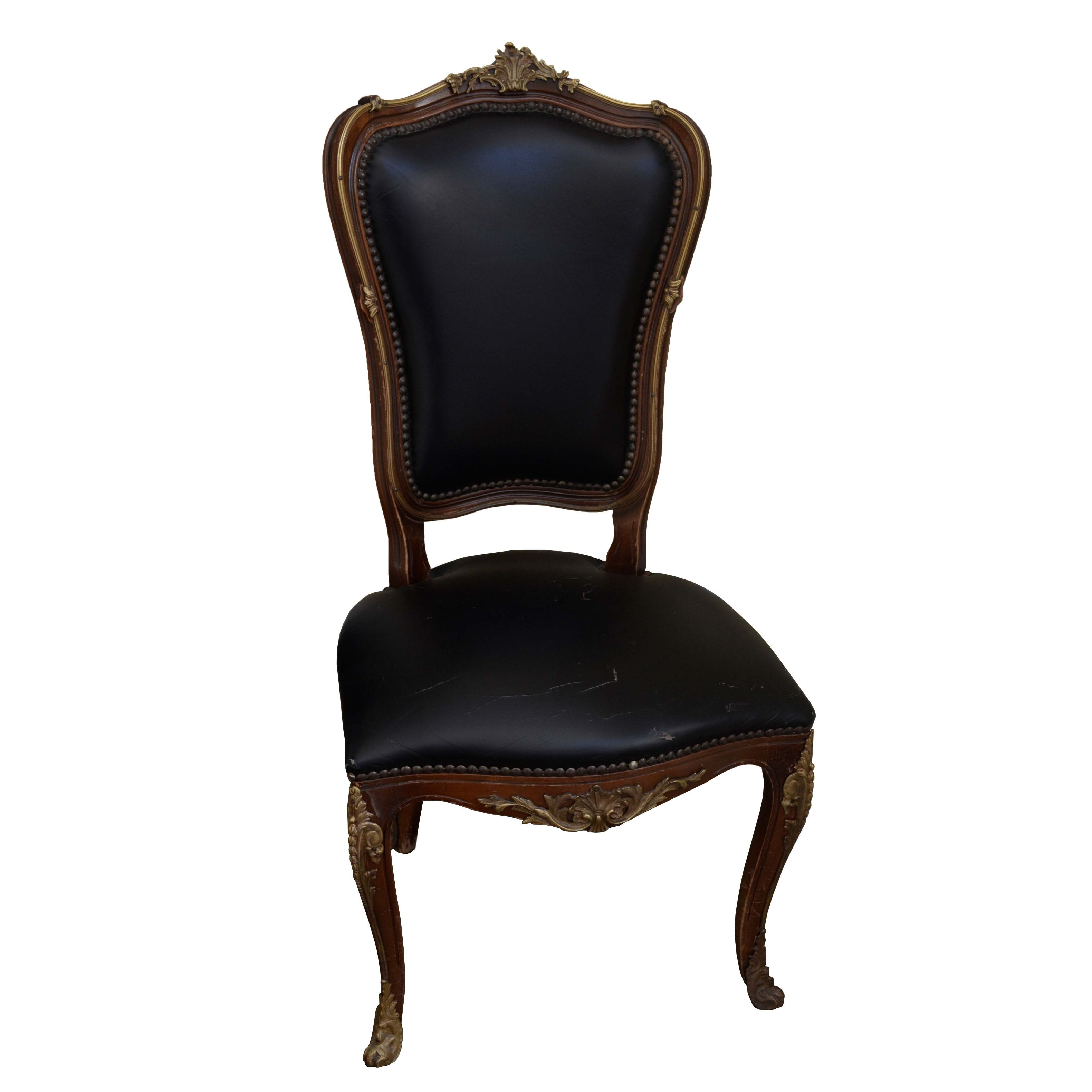 Vintage Louis XV Style Leather Side Chair