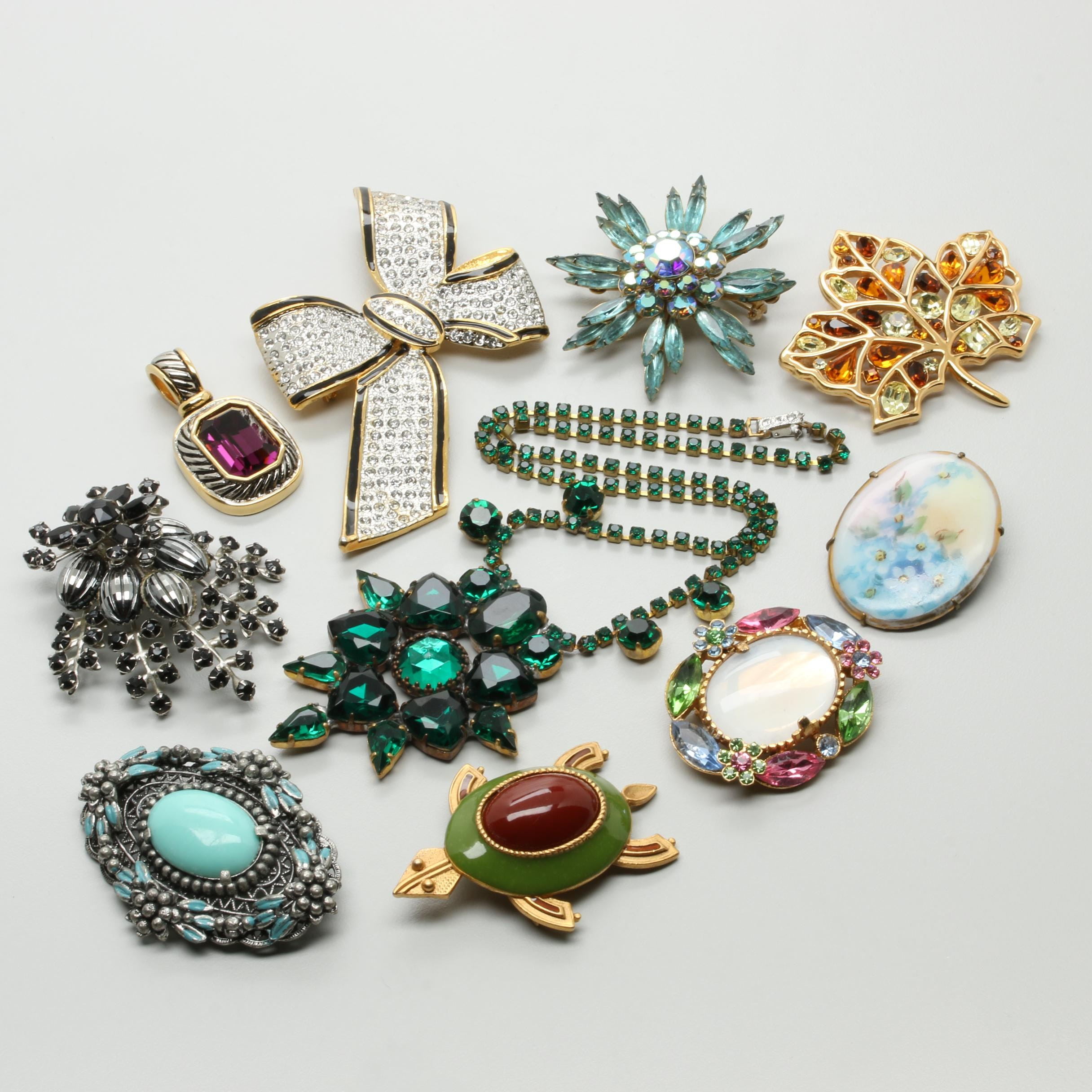 Vintage Brooch and Necklace Assortment with Foilback and Enamel