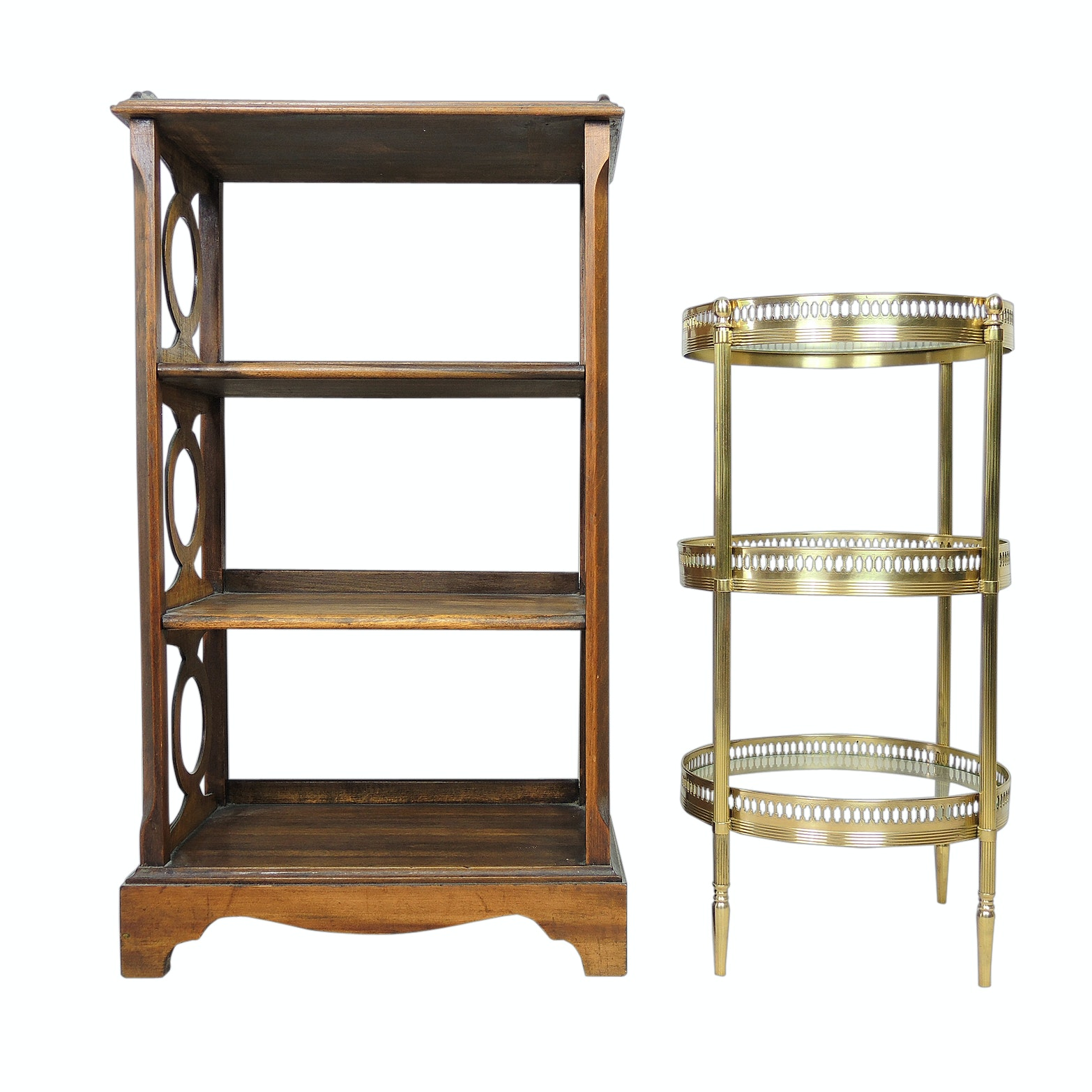 Walnut Bookcase and Pierced Brass and Glass Accent Table