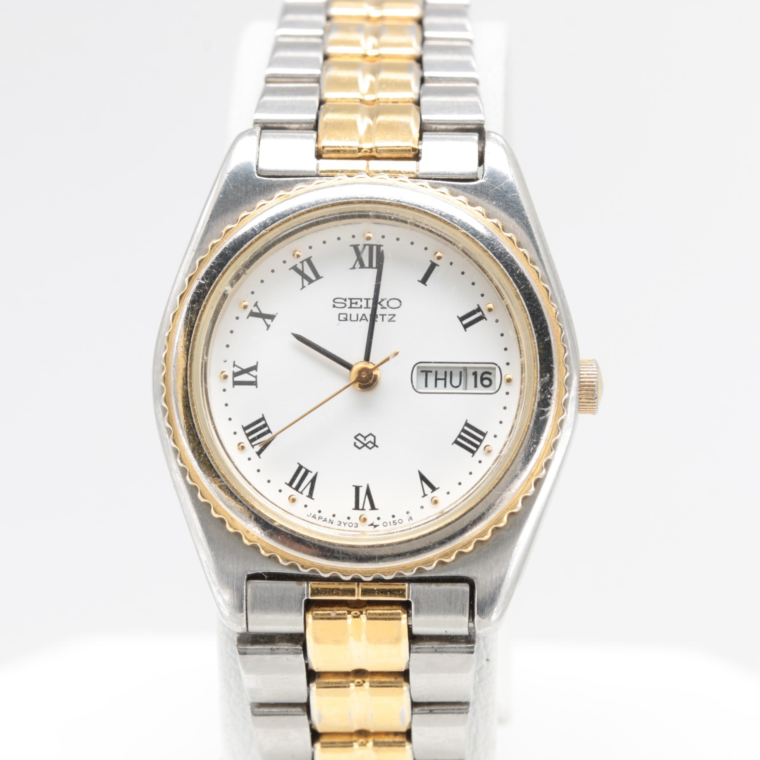 Seiko Two Tone Day and Date Quartz Stainless Steel Wristwatch