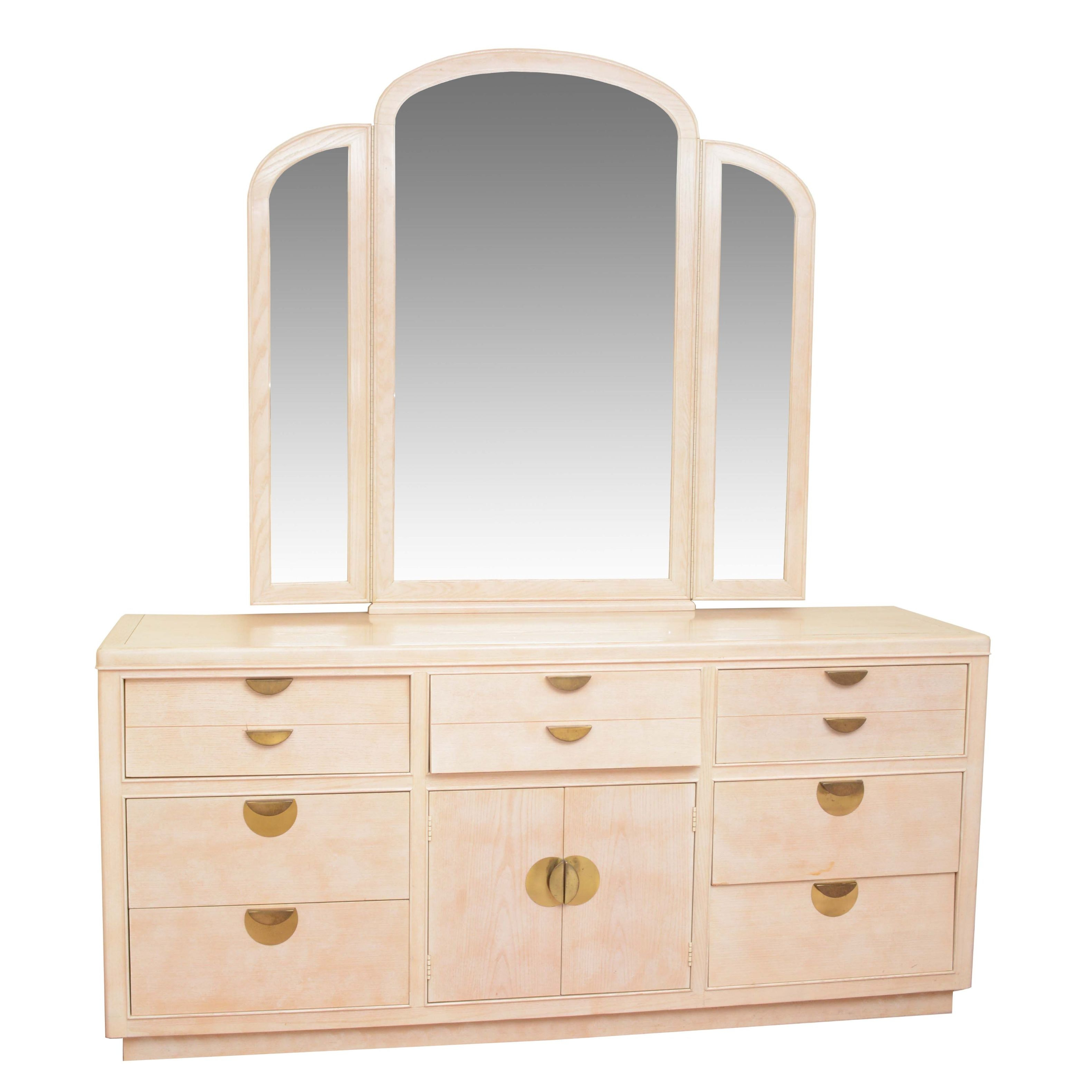 Deco Revival Style Dresser with Adjustable Mirror