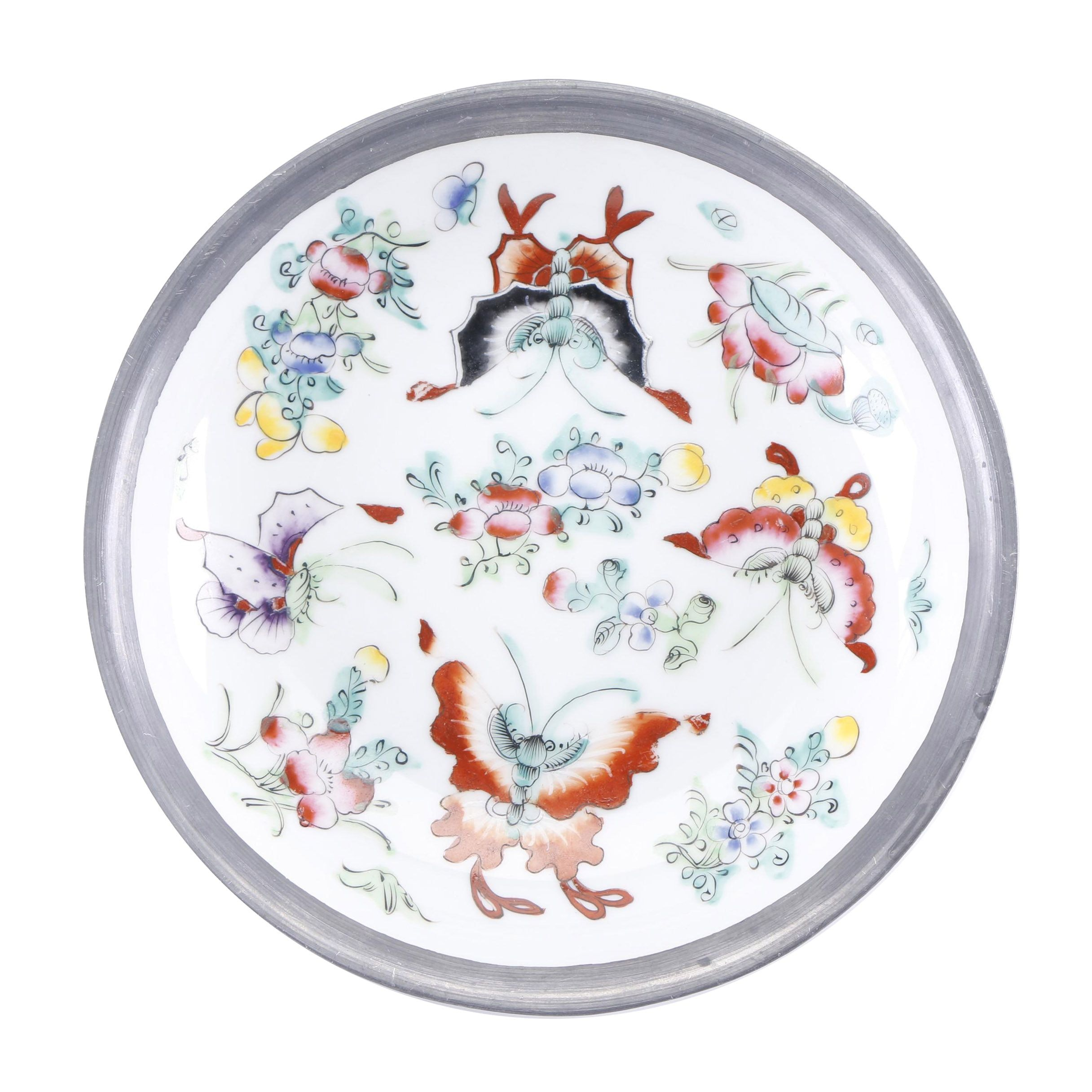 Vintage Chinese Butterfly-Themed Metal Clad Porcelain Bowl