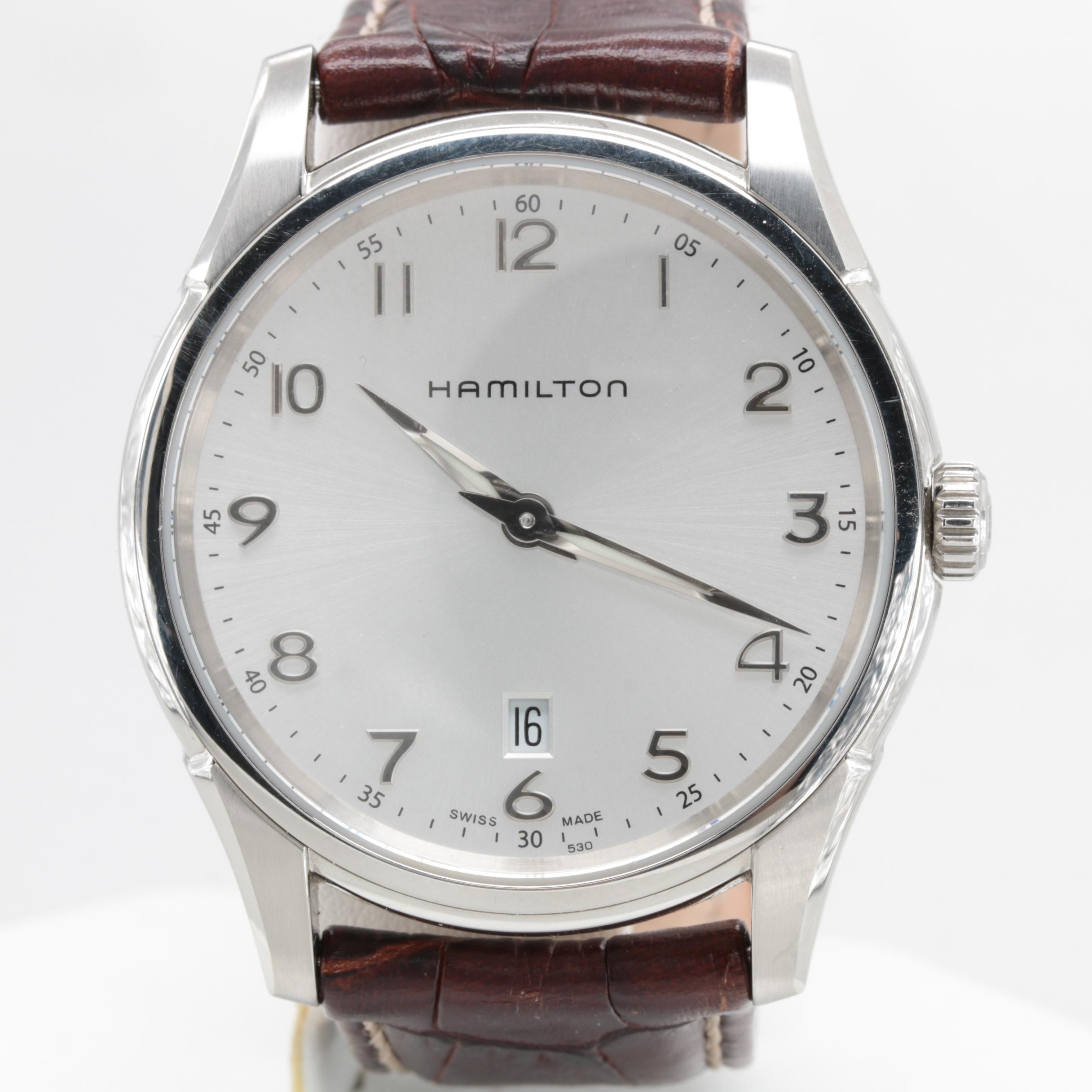 Hamilton Stainless Steel and Leather Wristwatch