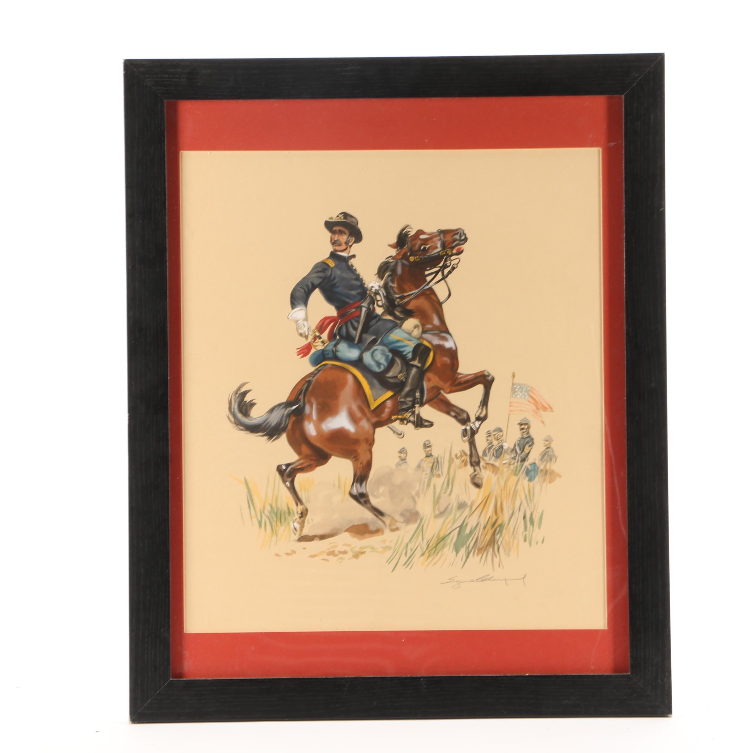"Eugène Leliepvre Hand-colored Lithograph ""Union Calvary Officer"""